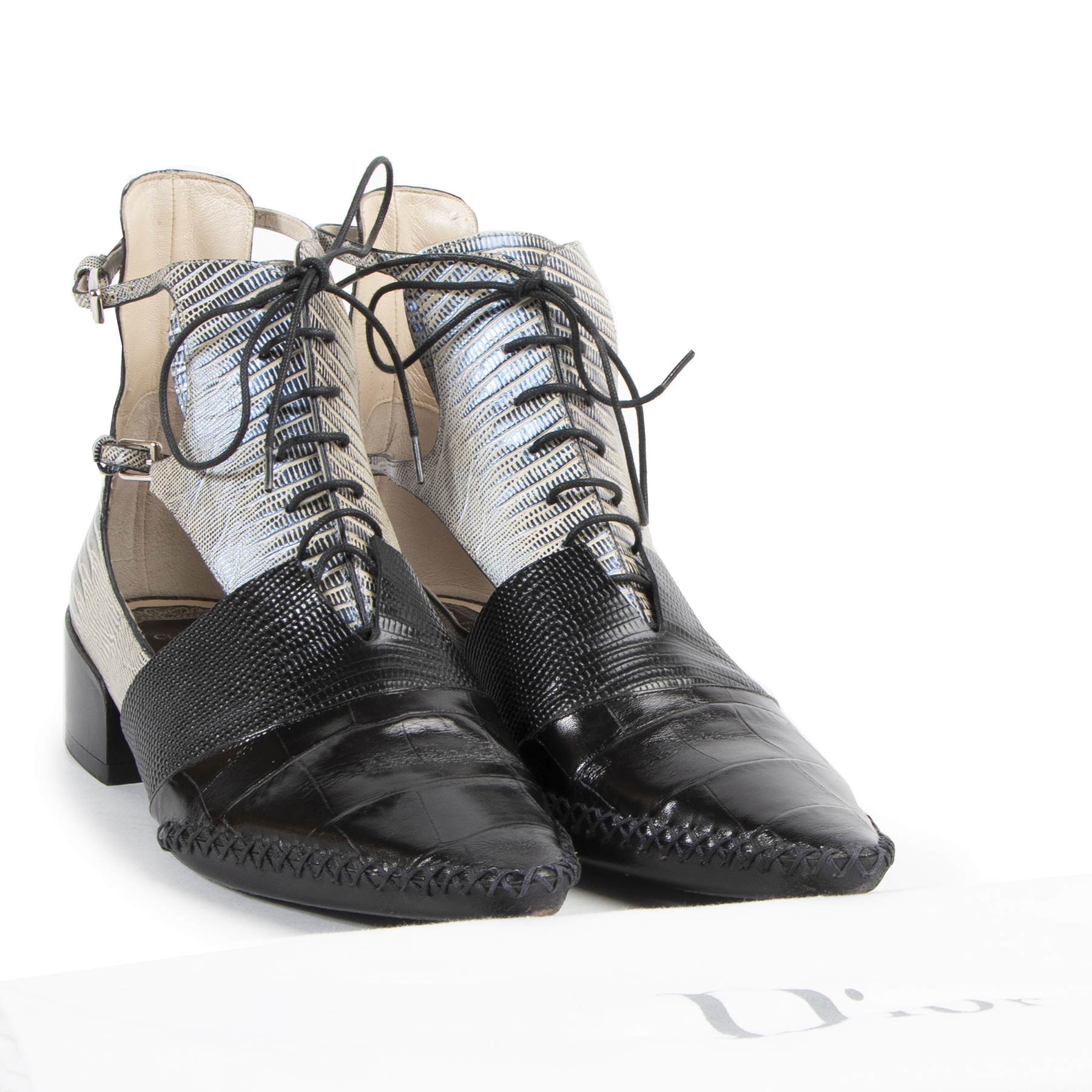 Buy and sell your authentic Dior Nomade Embossed Leather Lace-Up Boots - size 39