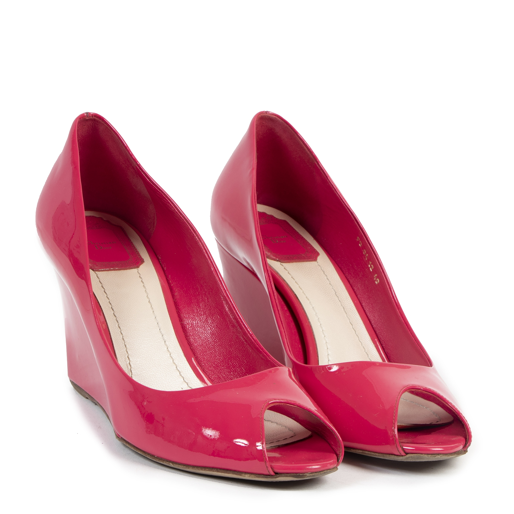 Authentic secondhand Dior Candy Pink Patent Peep Toe Wedge Pumps - Size 40 designer shoes fashion luxury vintage webshop safe secure online shopping