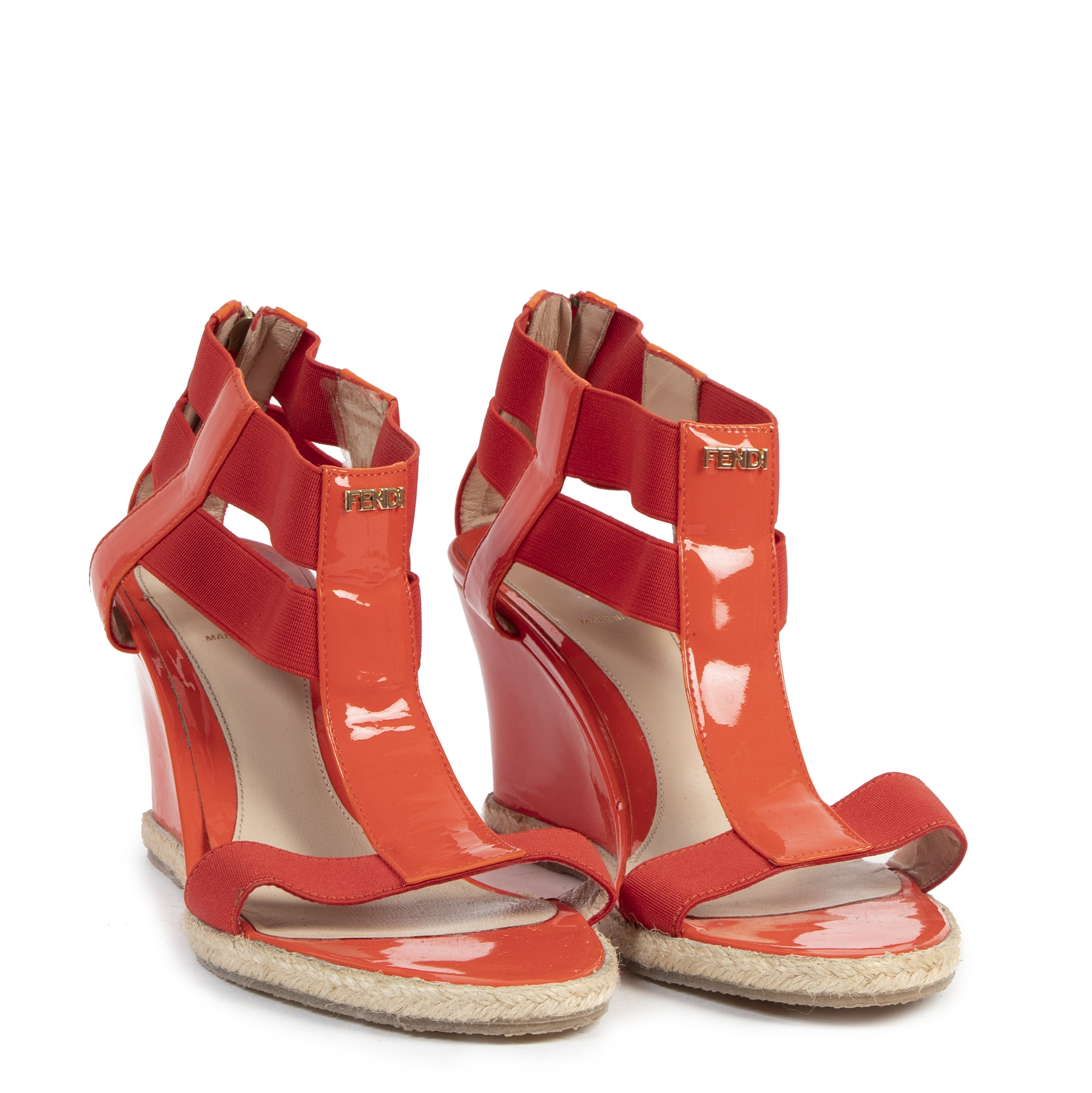 Authentic secondhand Fendi Red Strappy Wedge Sandals - Size 40 designer luxury vintage webshop safe secure online shopping