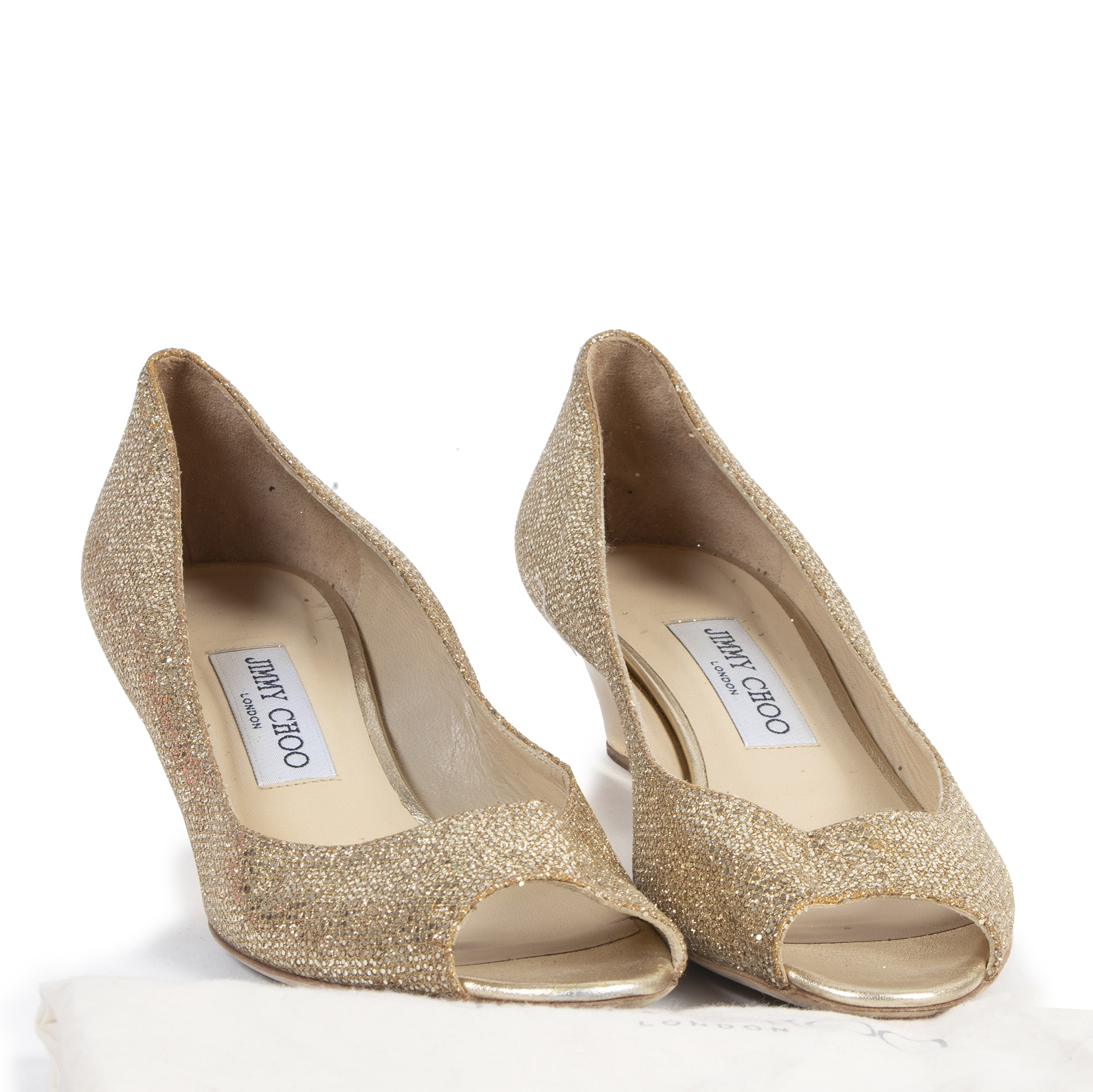 Authentic secondhand Jimmy Choo Gold Glitter Wedge Heels - Size 40 designer shoes fashion luxury vintage webshop safe secure online shopping