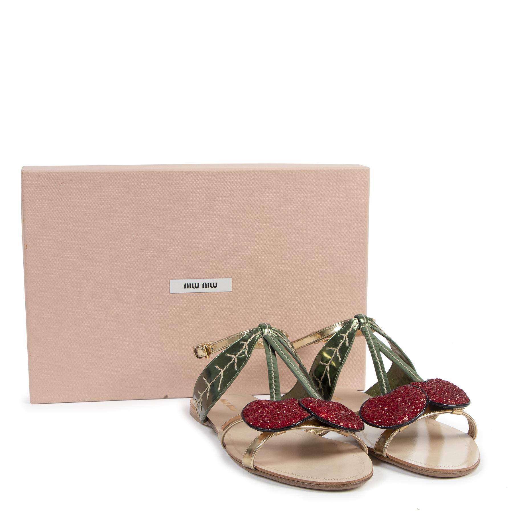 Authentic secondhand Miu Miu Cherry Sandals - Size 39,5 designer shoes luxury vintage webshop fashion safe secure online shopping