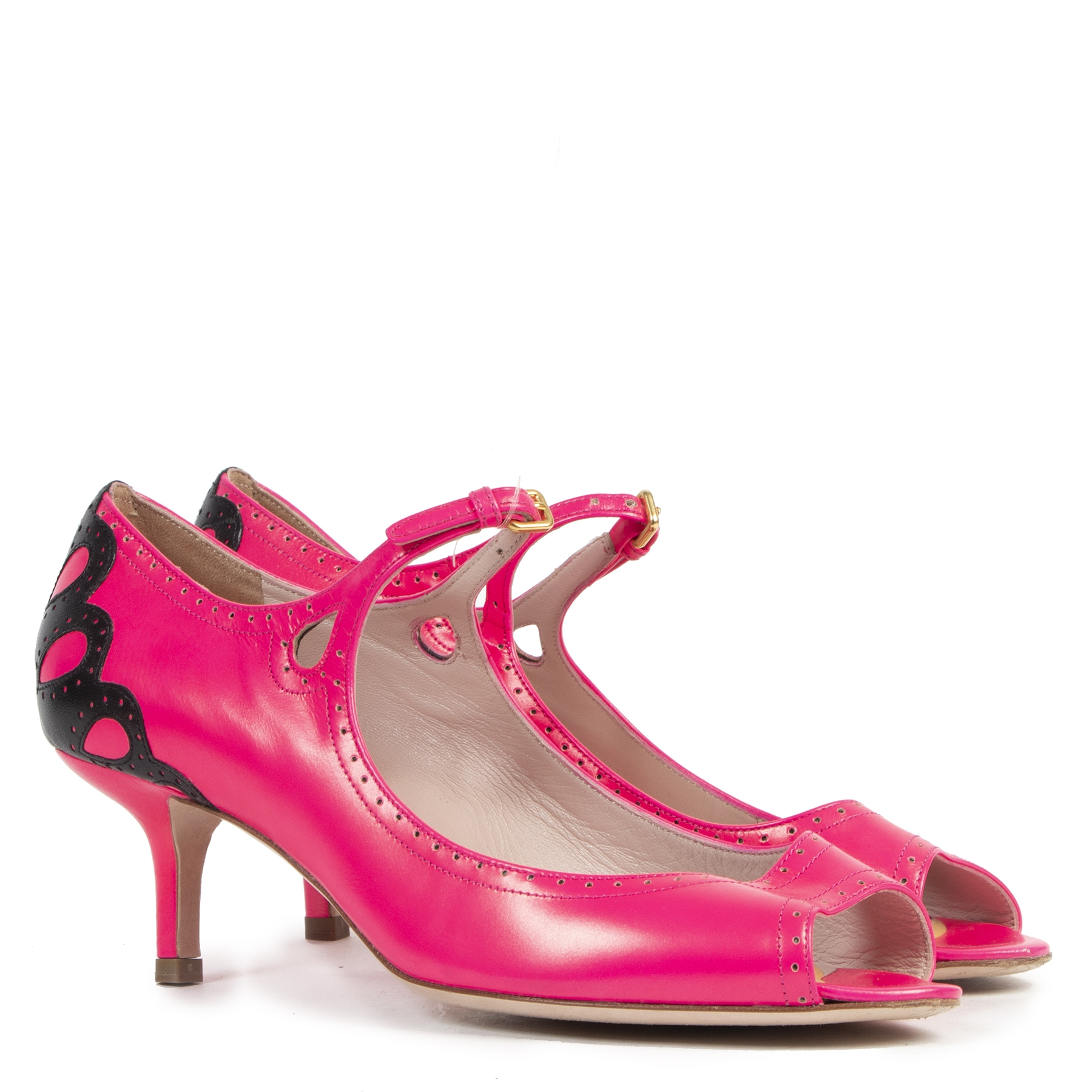 Authentic secondhand Miu Miu Pink Open Toe Kitten Heels - Size 39 designer shoes fashion luxury vintage webshop safe secure online shopping