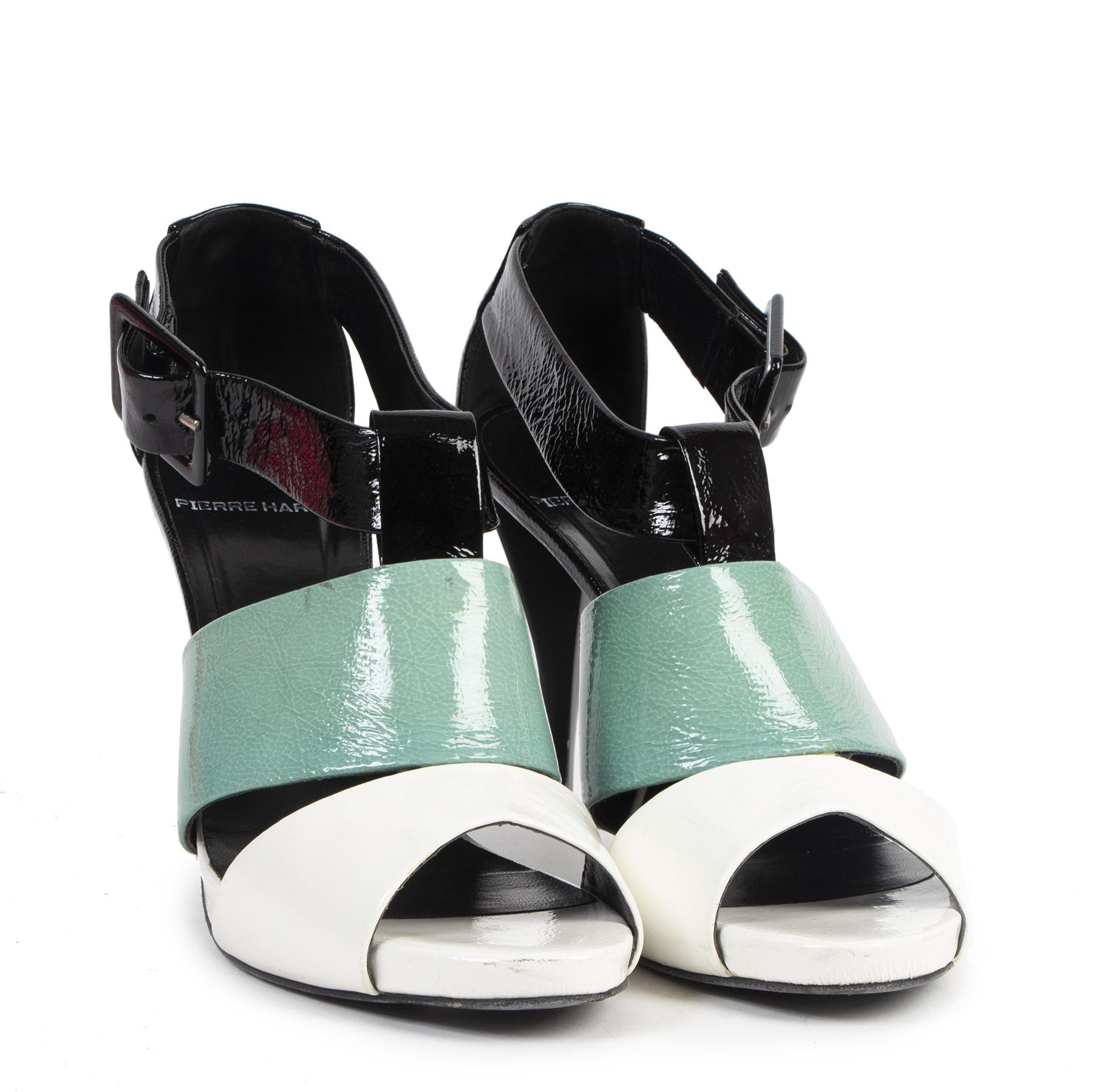 Authentic secondhand Pierre Hardy Tricolor Patent Leather Sandal Heels - Size 39,5  designer luxury vintage webshop fashion