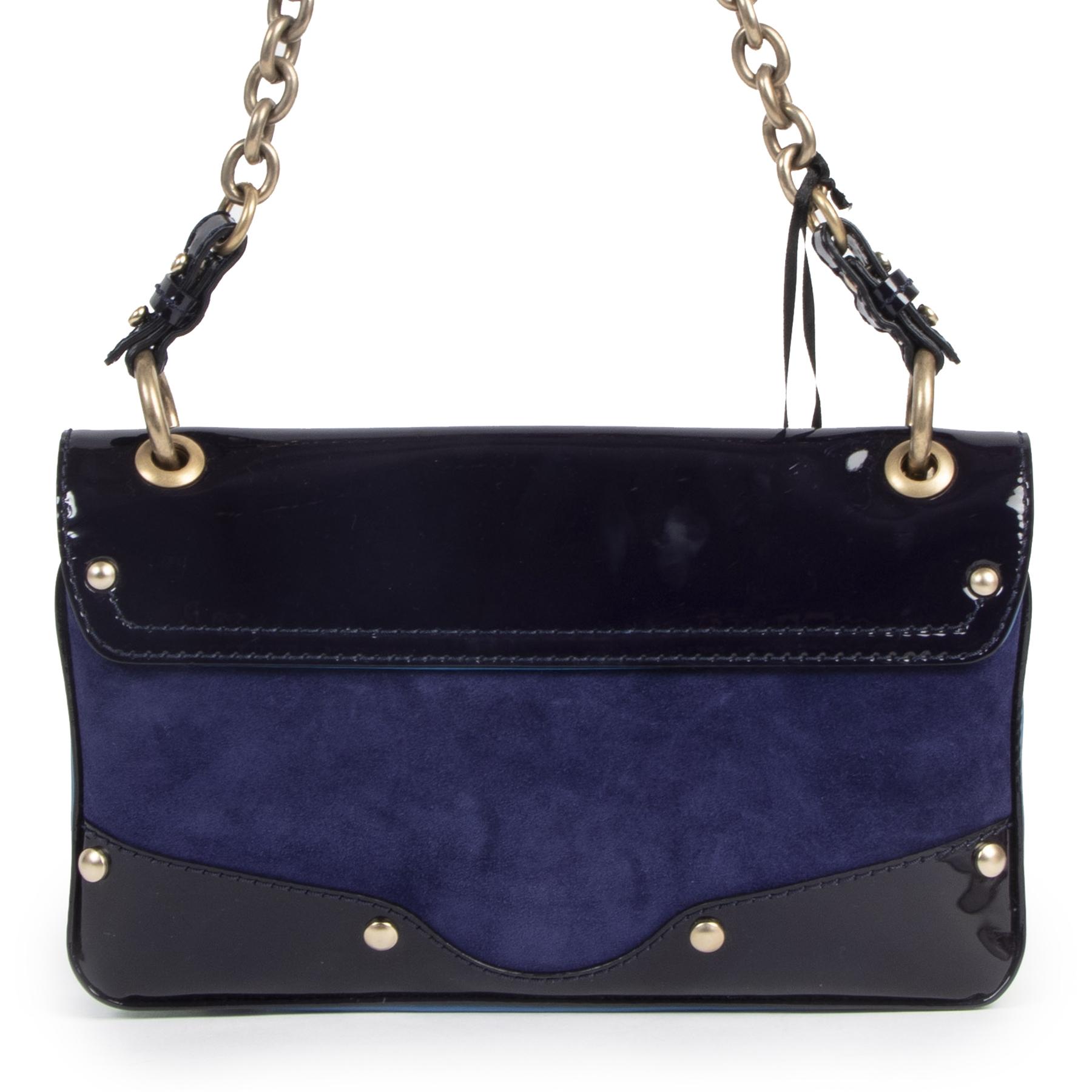 Authentieke Tweedehands Versace Mauve & Blue Shoulder Bag juiste prijs veilig online shoppen luxe merken webshop winkelen Antwerpen België mode fashion