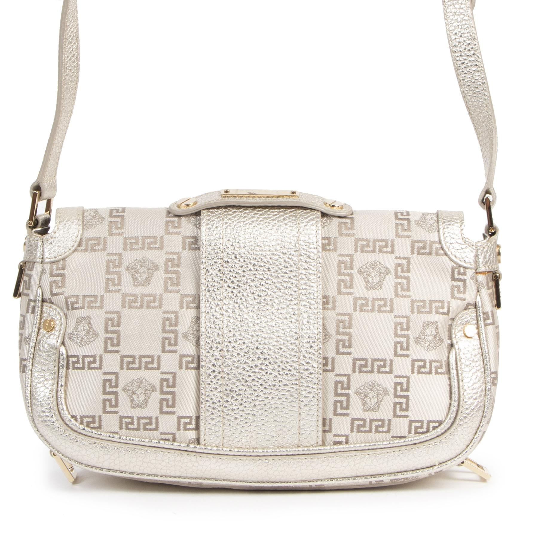 Authentieke Tweedehands Versace Silver Medusa Shoulder Bag juiste prijs veilig online shoppen luxe merken webshop winkelen Antwerpen België mode fashion