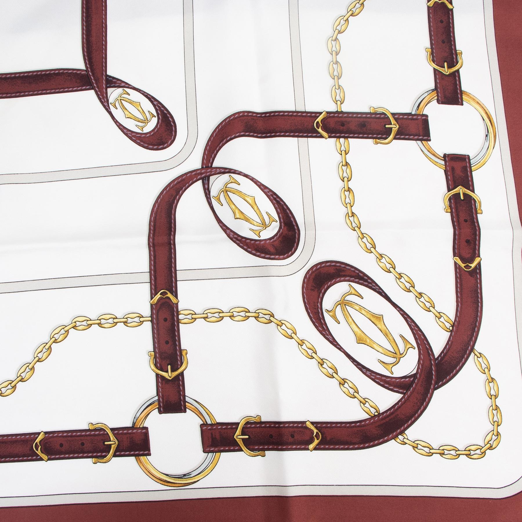 Authentieke tweedehands vintage Cartier Must De Cartier Burgundy Silk Scarf koop online webshop LabelLOV