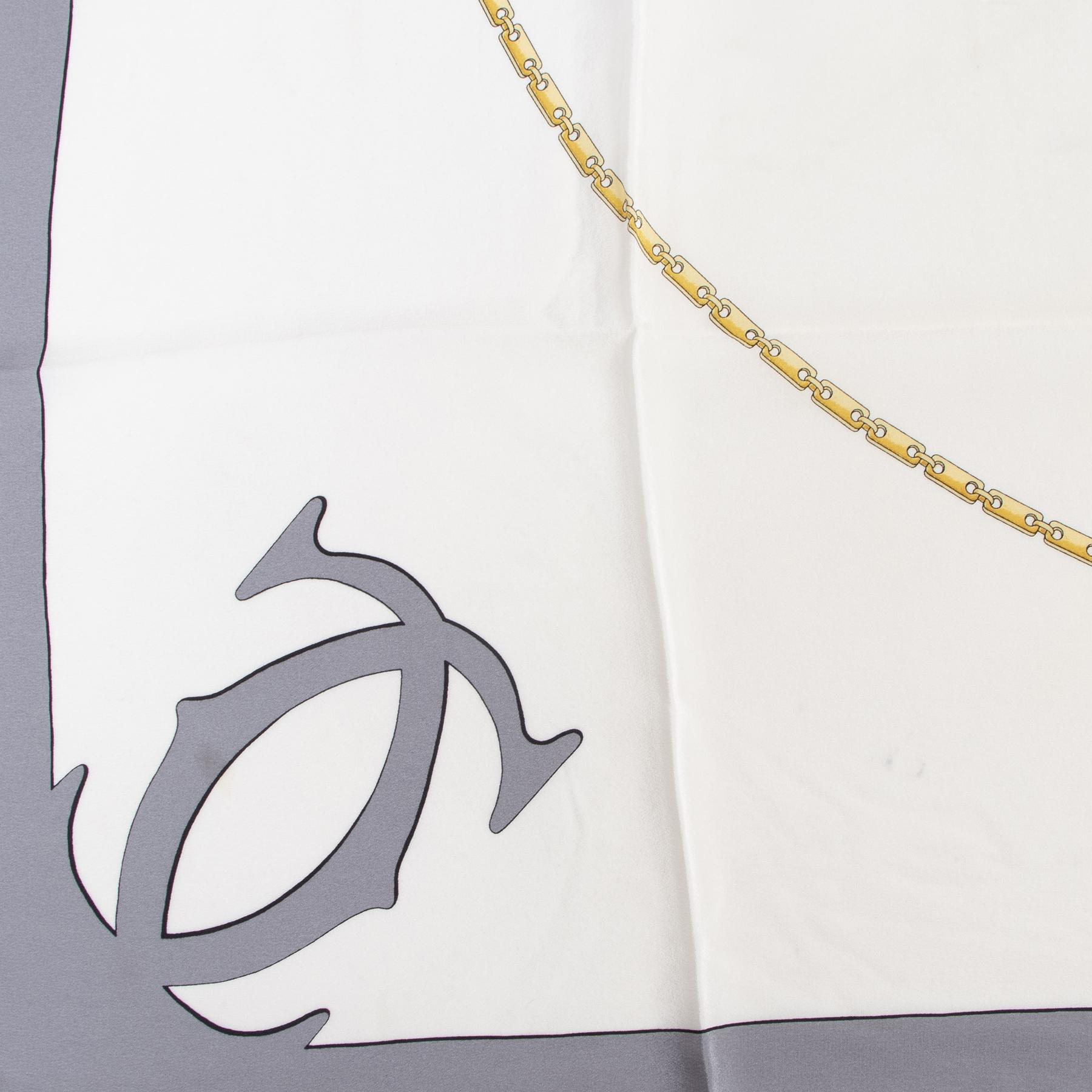 Cartier Must De Cartier Silk Grey Scarf for sale online at Labellov tweedehands luxe in Antwerpen