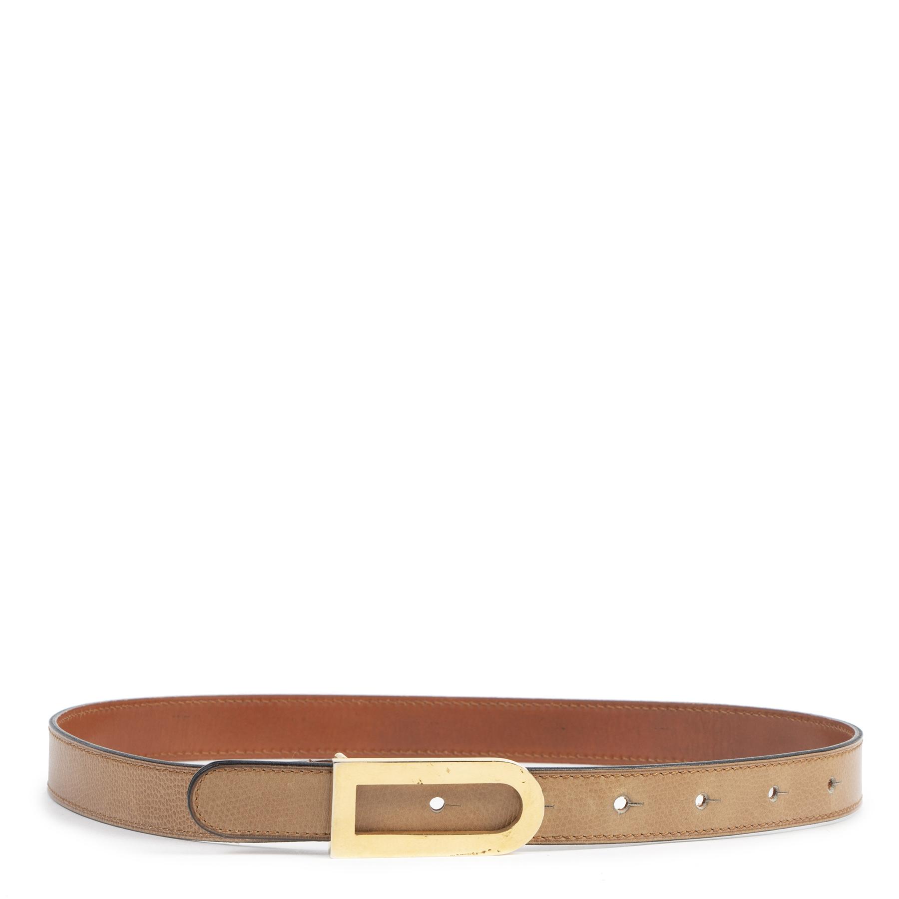 koop online tegen de beste prijs Delvaux Cognac D Belt - Size 75