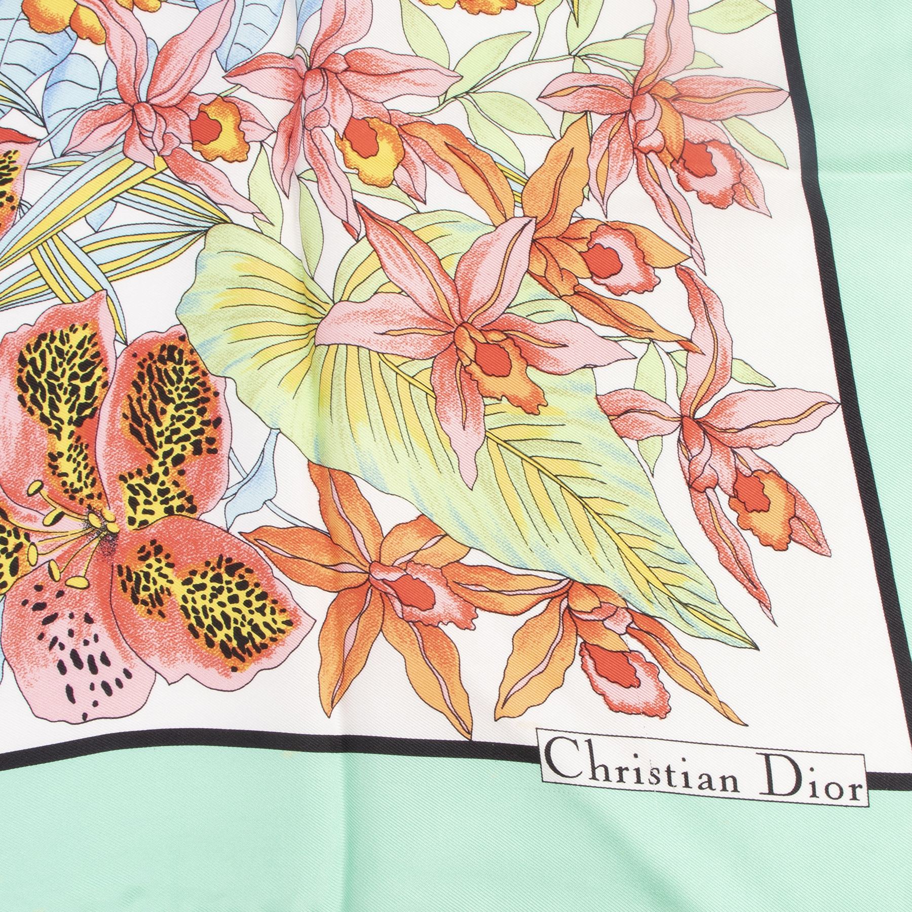 Authentic secondhand Christian Dior Multicolor Floral Silk Foulard luxury vintage webshop fashion safe secure online shopping