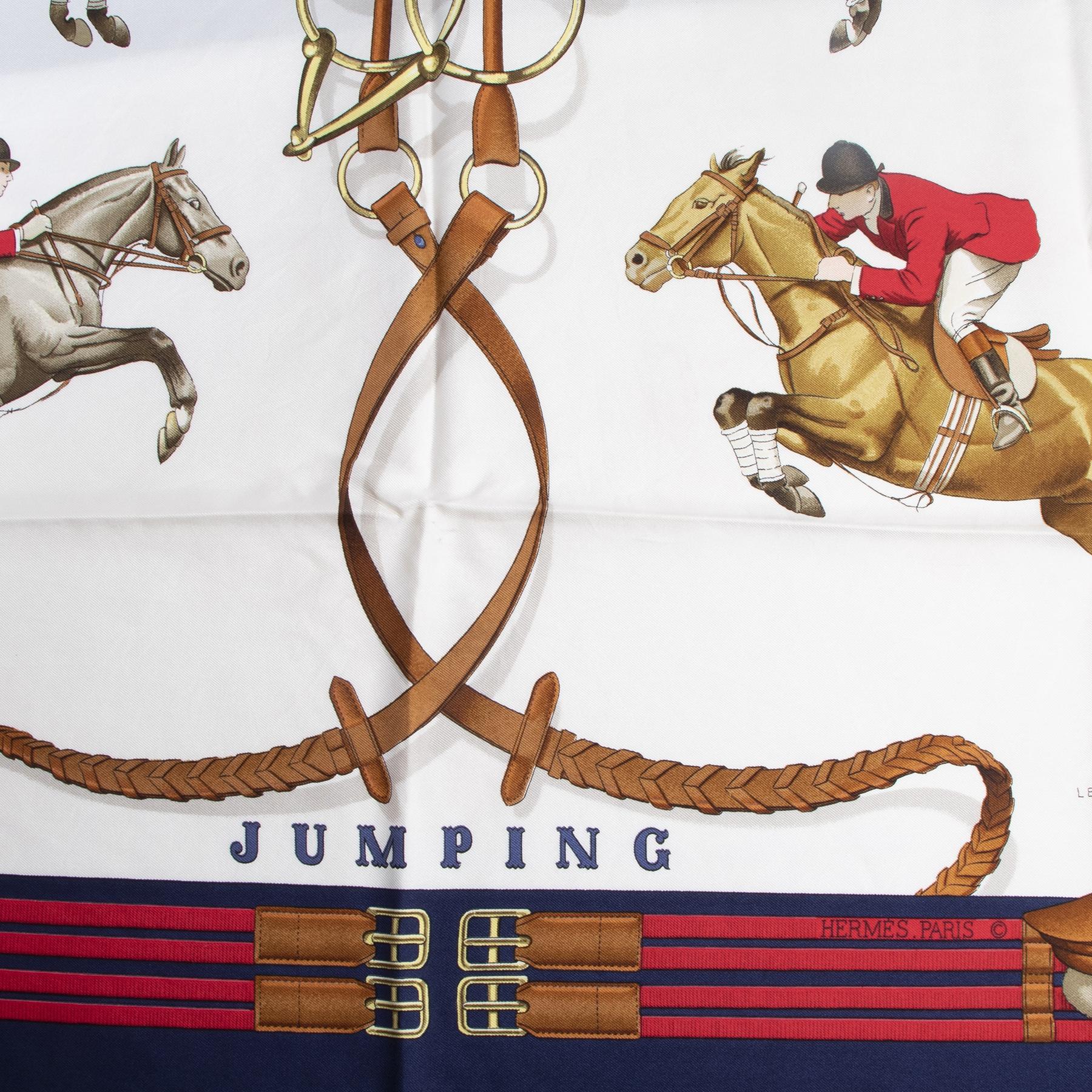 Authentieke tweedehands vintage Hermès Navy Jumping Carré Scarf koop online webshop LabelLOV