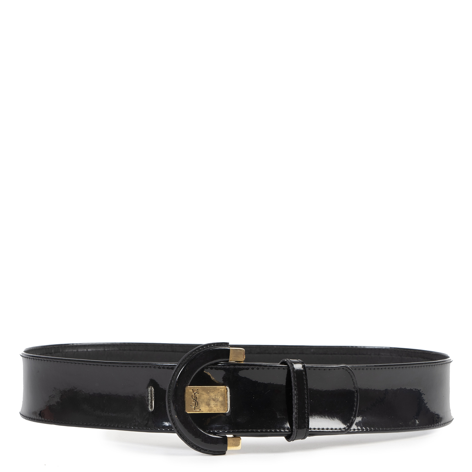 Authentic secondhand Yves Saint Laurent Black Patent Leather Belt - Size 75 luxury vintage webshop fashion safe secure online shopping