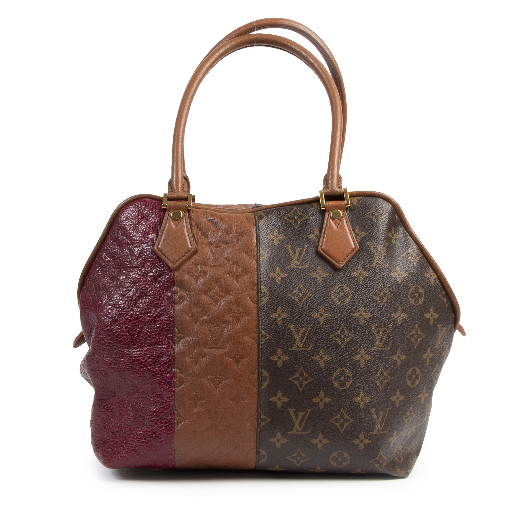 Louis Vuitton Burgundy Blocks Zipped Tote Bag