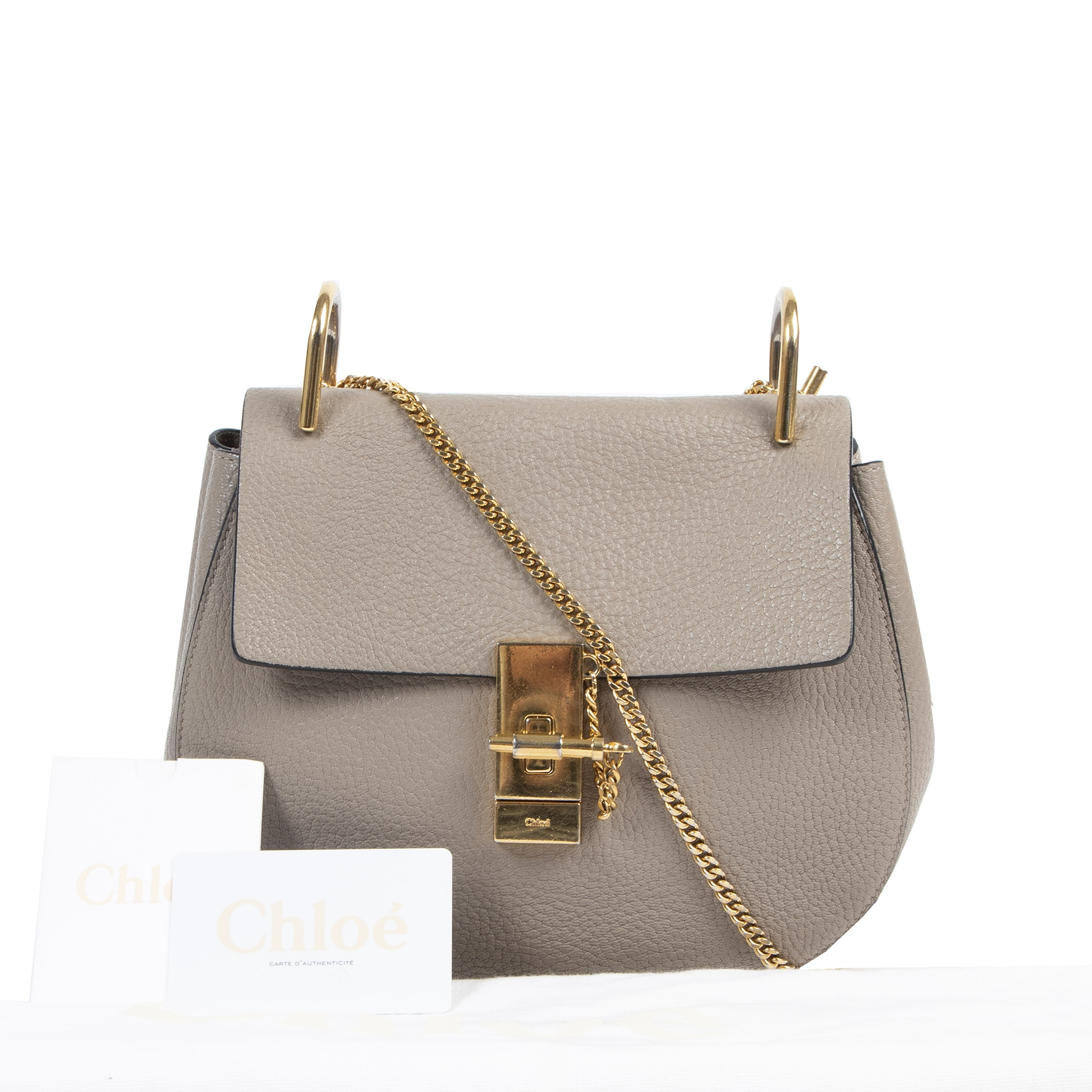 Authentieke tweedehands vintage Chloé Grey Drew Shoulder Bag koop online webshop LabelLOV
