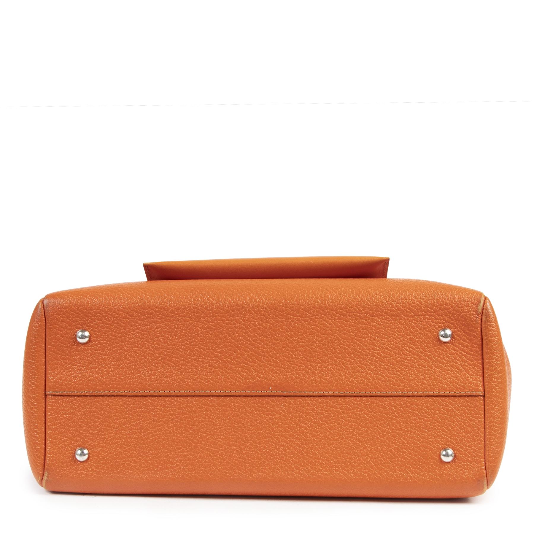 Authentieke tweedehands vintage Delvaux Deux de Delvaux Orange Top Handle Bag koop online webshop LabelLOV