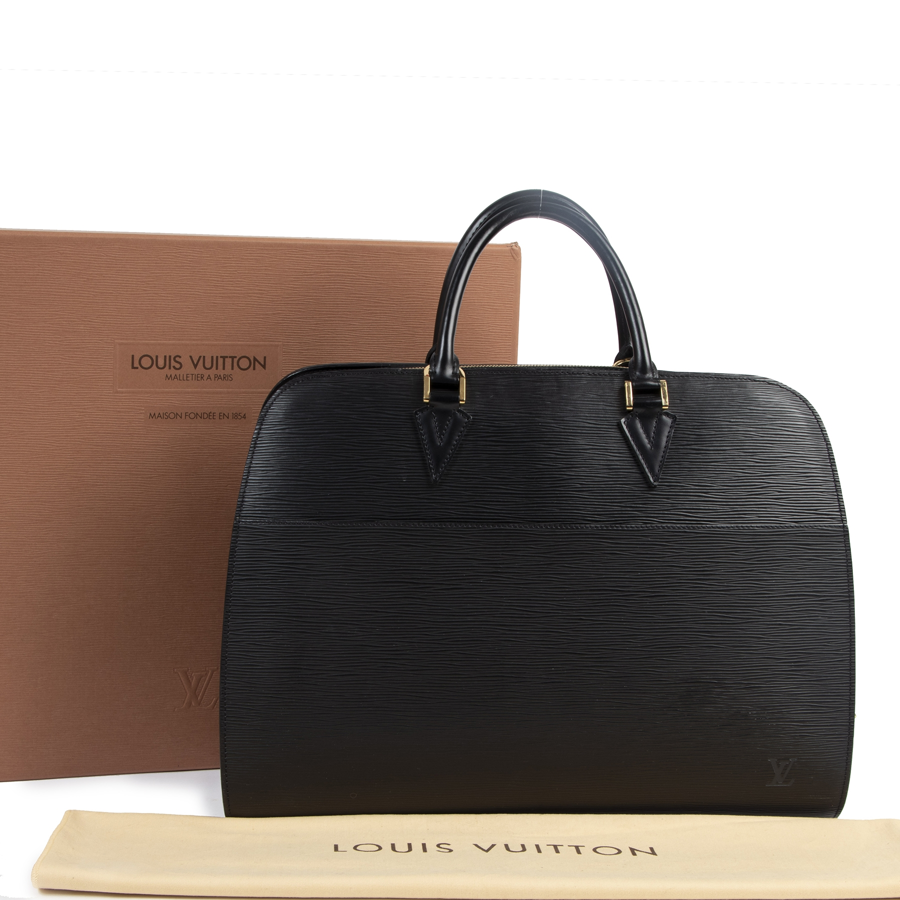 Authentieke tweedehands vintage Louis Vuitton Sorbonne Epi Briefcase Black koop online webshop LabelLOV