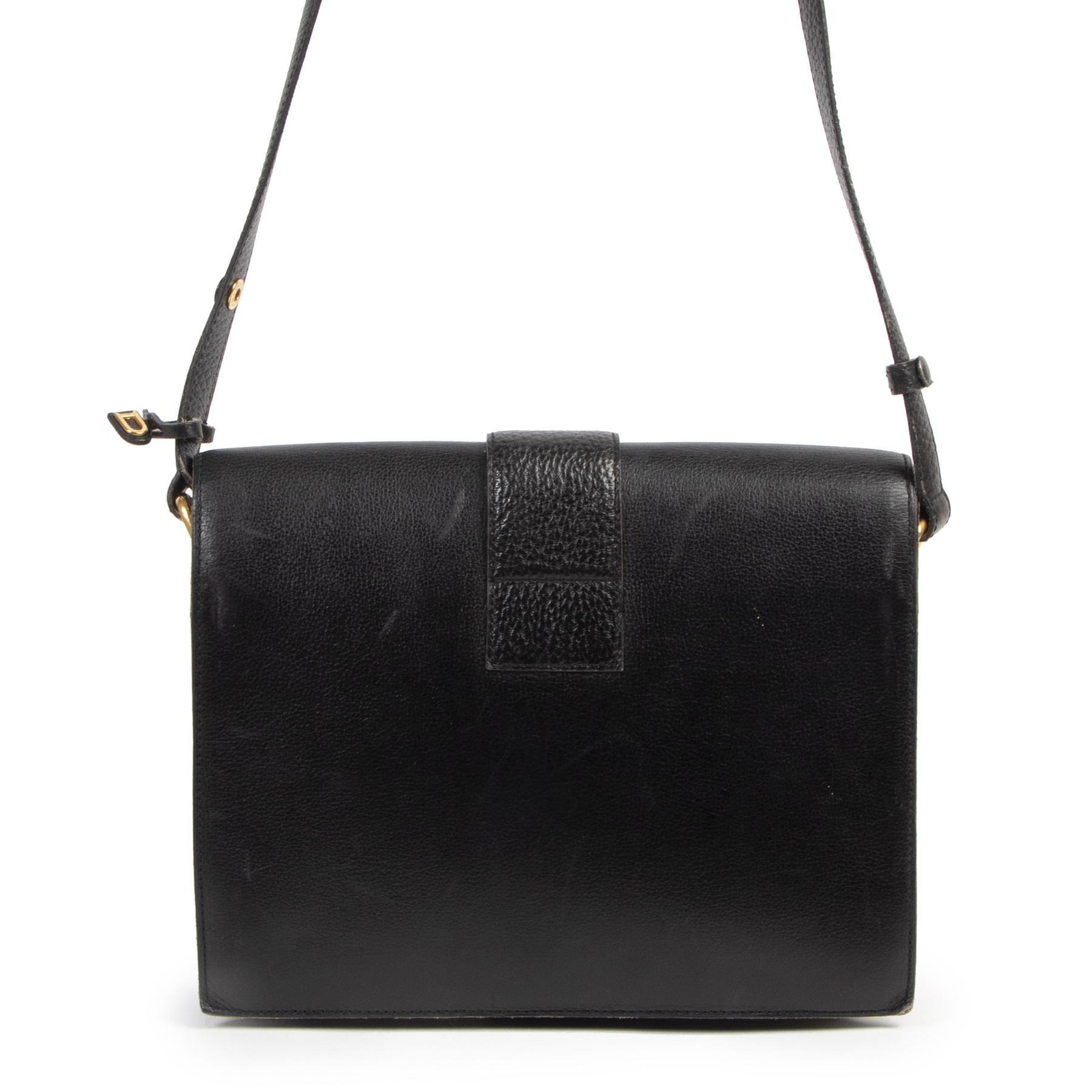 Authentieke Tweedehands Delvaux Buckle Navy Crossbody Bag juiste prijs veilig online shoppen luxe merken webshop winkelen Antwerpen België mode fashion