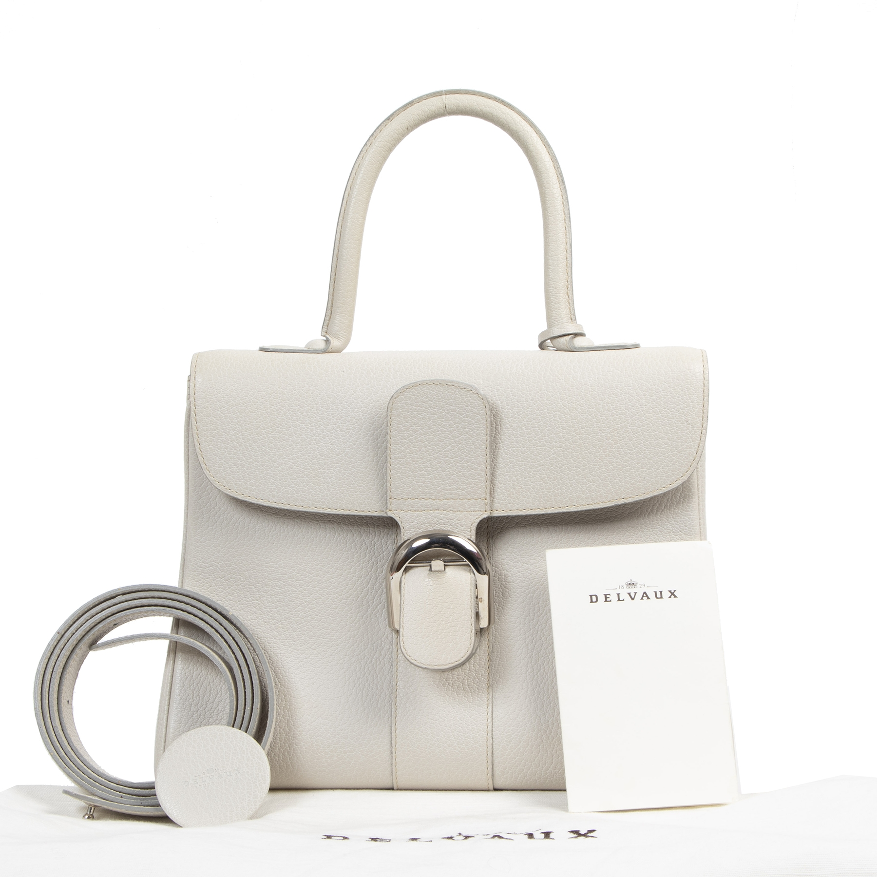 Authentic secondhand Delvaux Cream White Brillant MM + Strap designer bags fashion luxury vintage webshop safe secure online shopping