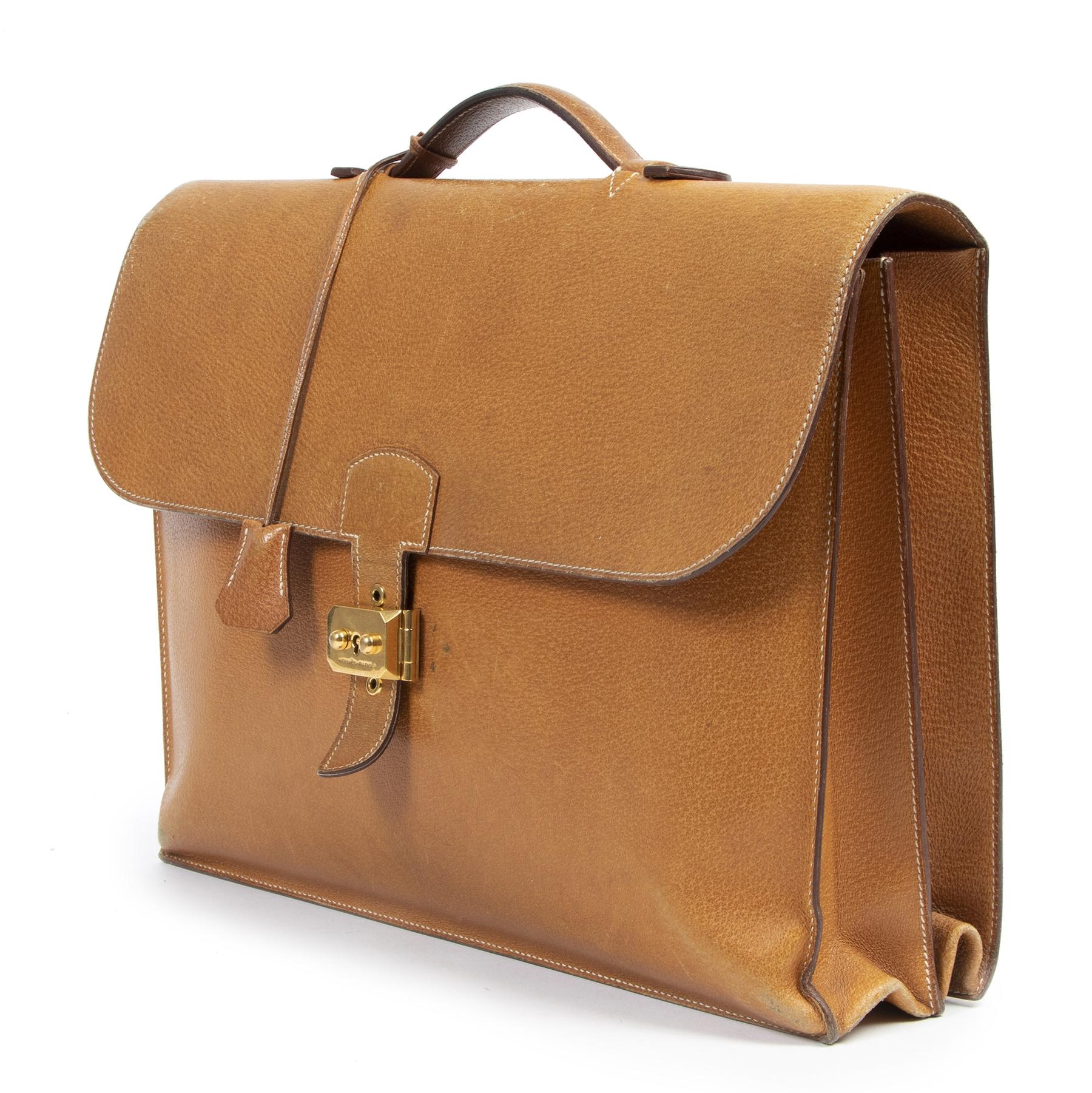 Hermès Sac A Dépêches 41 Cognac Briefcase pour le meilleur prix chez Labellov à Anvers.