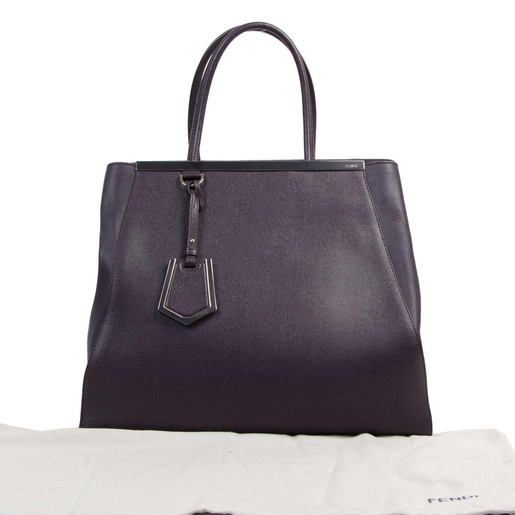Authentieke tweedehands vintage Fendi Purple 2jours Top Handle Bag koop online webshop LabelLOV