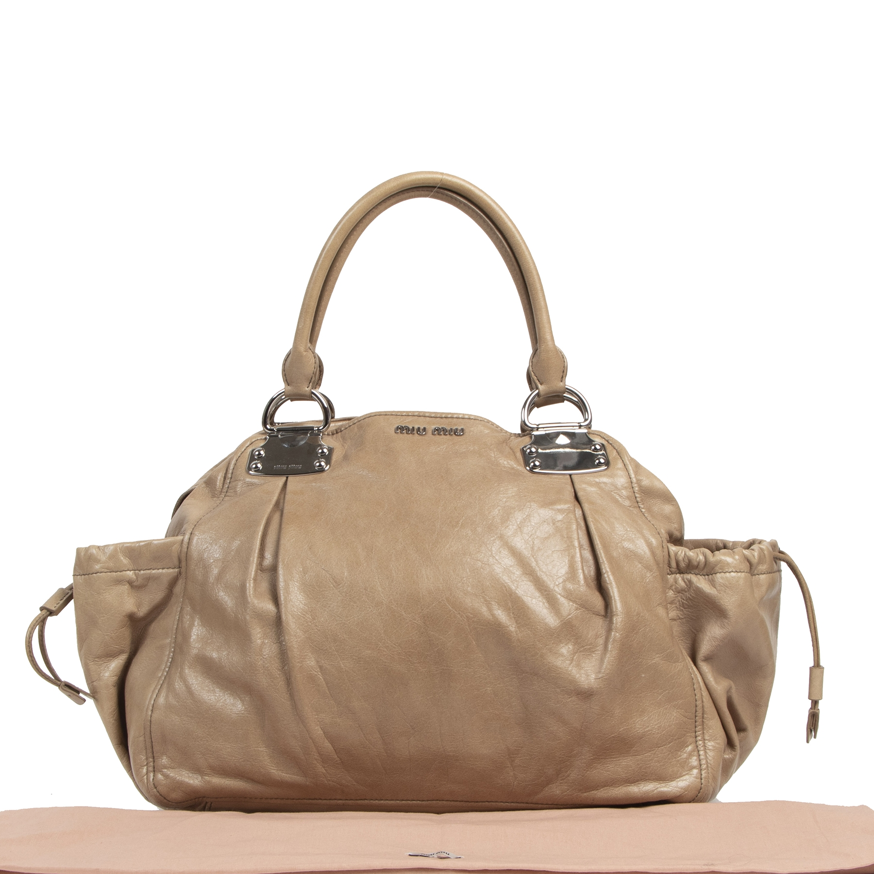 Authentieke tweedehands vintage Miu Miu Large Beige Shopping Bag koop online webshop LabelLOV