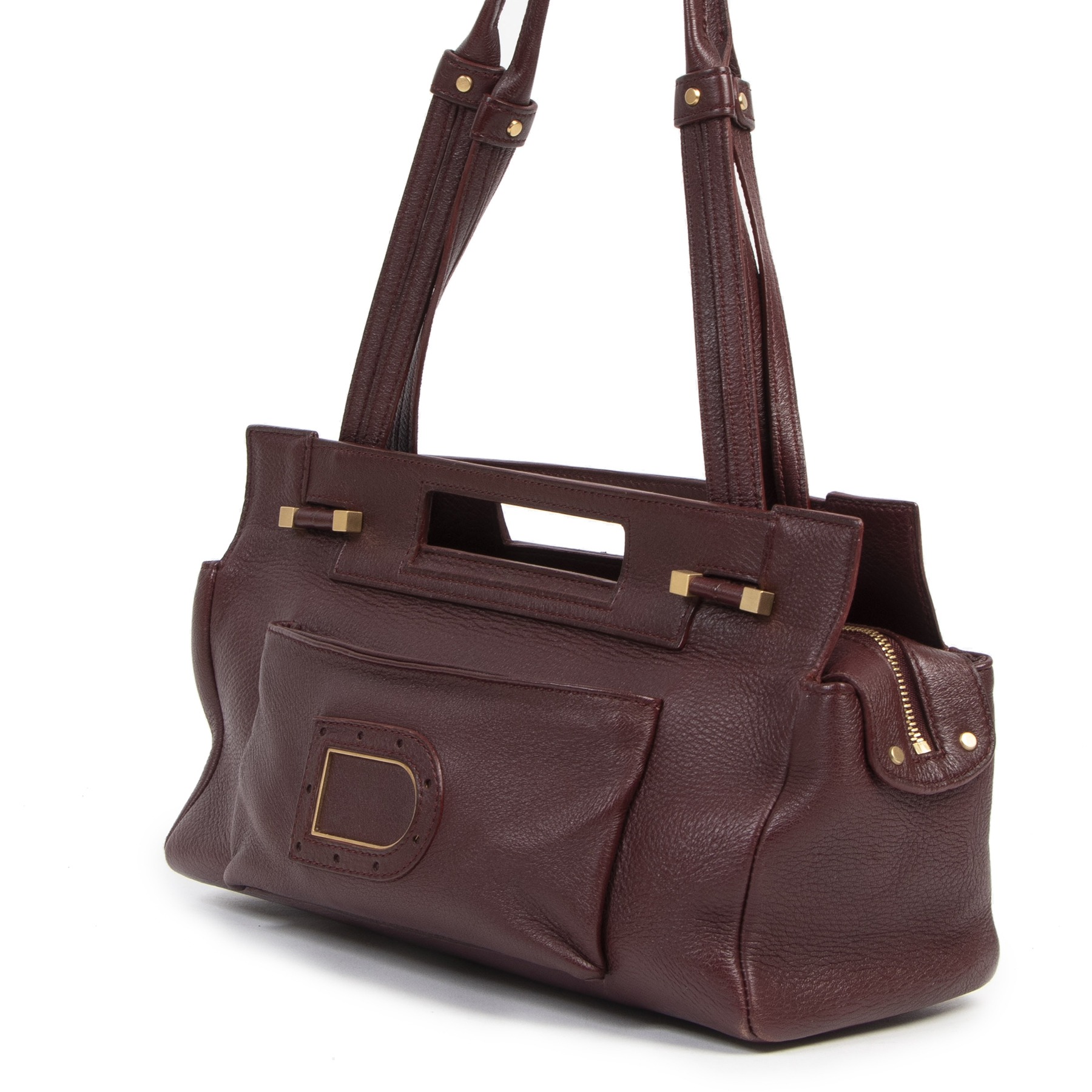 Authentic secondhand Delvaux Burgundy Leather Shoulder Bag  luxury vintage webshop fashion safe secure online shopping