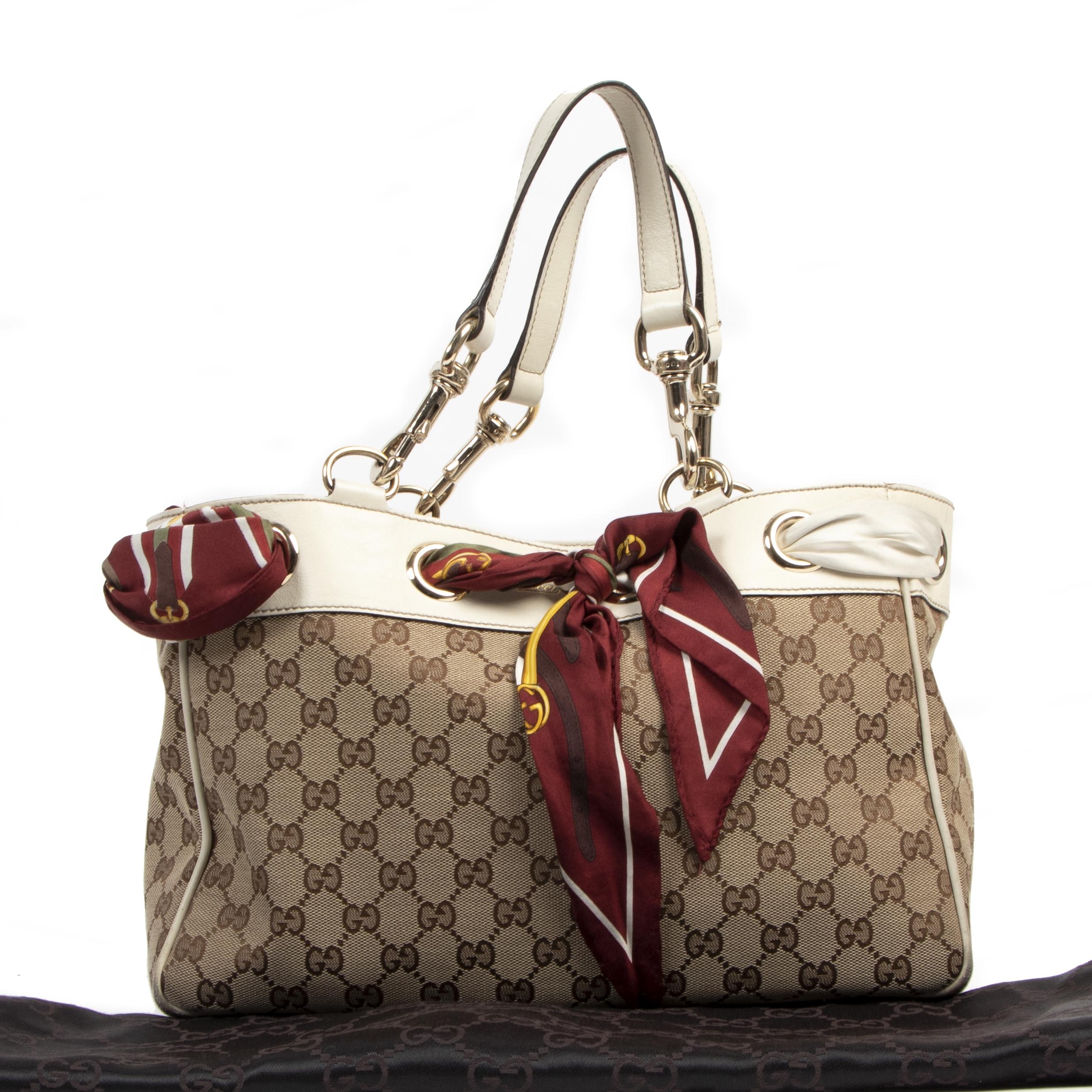 Gucci Positano Monogram Silk Scarf Tote Bag pour le meilleur prix chez Labellov