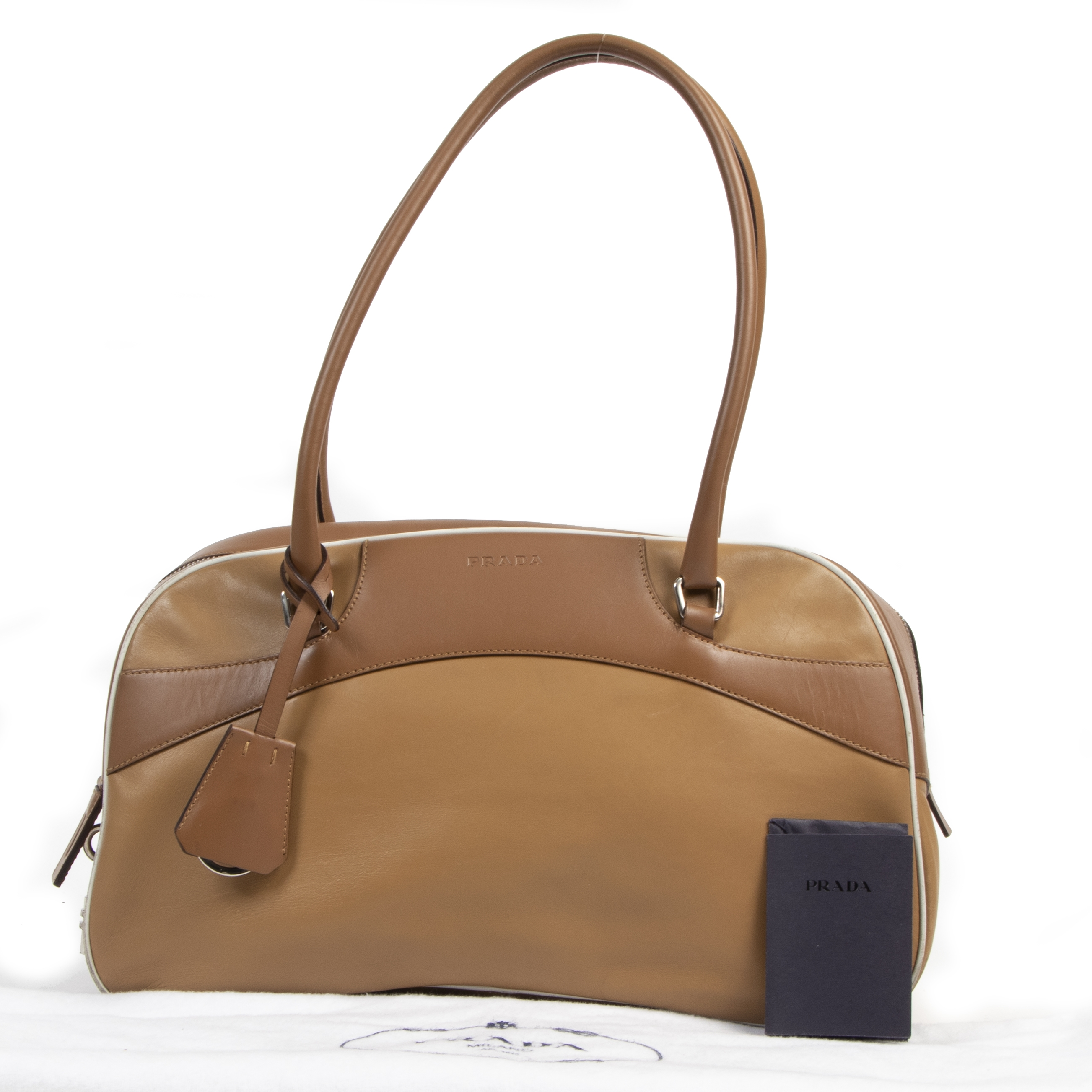 Prada Toffee Leather Bowling Shoulder Bag