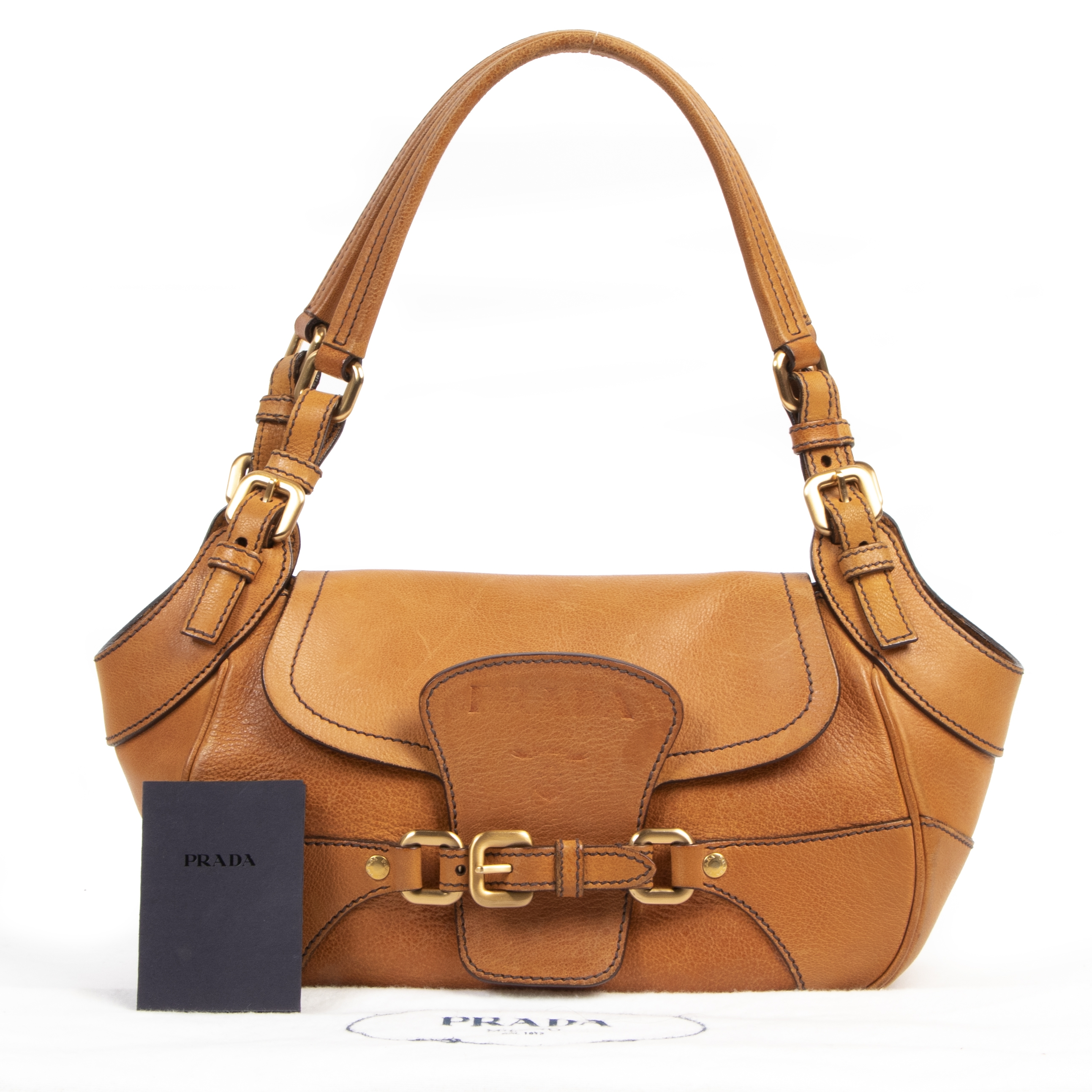 Buy and sell 100% authentic Prada Cognac Leather Shoulder Bag for the best price