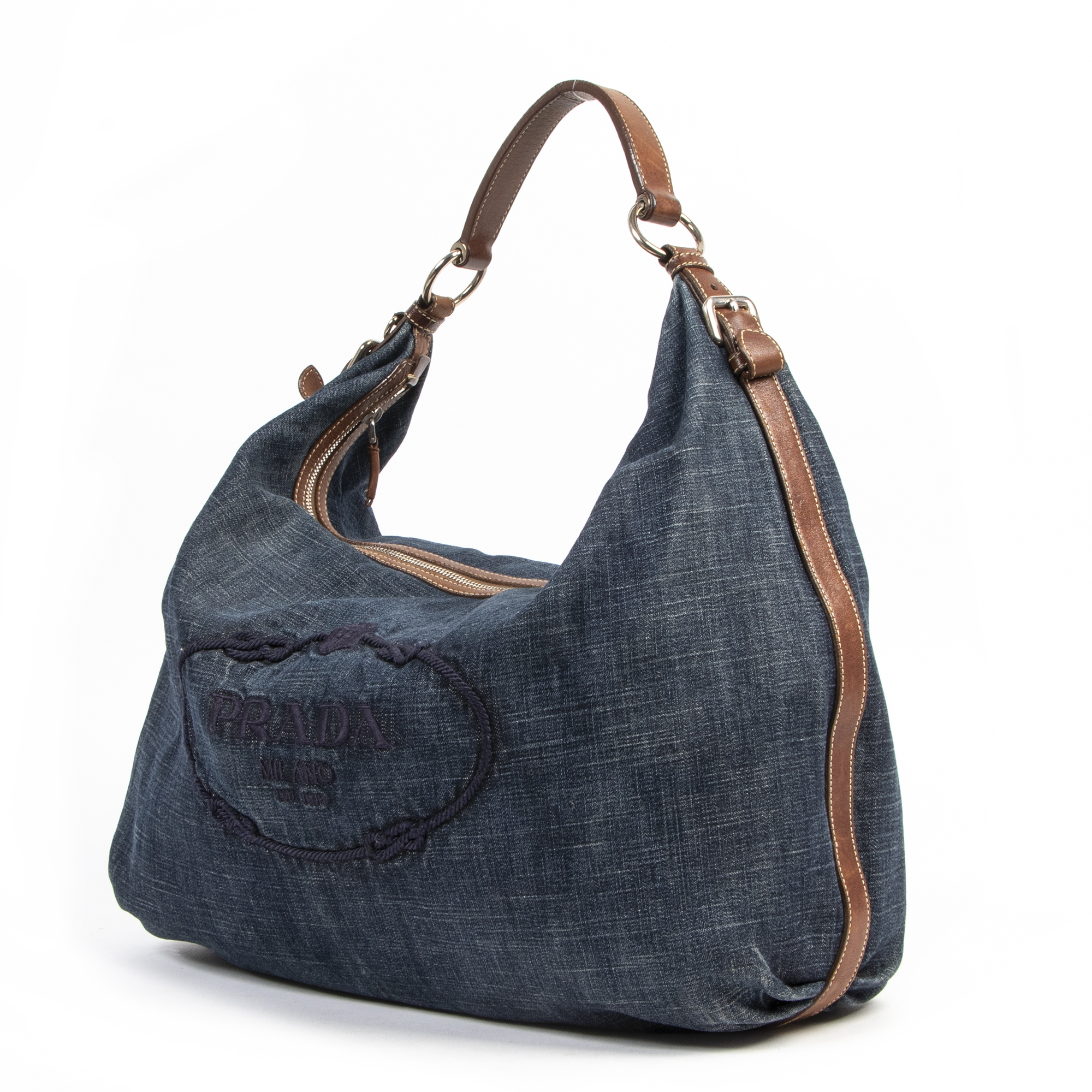 Prada Denim Leather Hobo Bag for the best price at Labellov