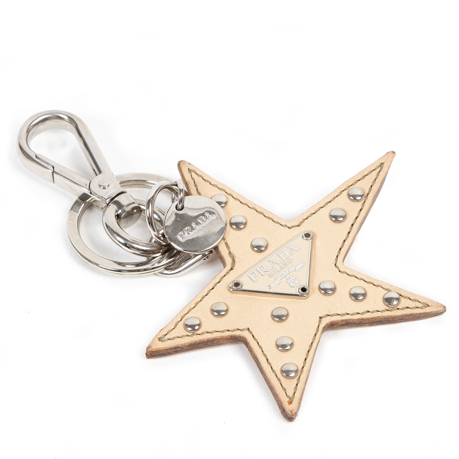 Prada Blush Studded Star Keychain