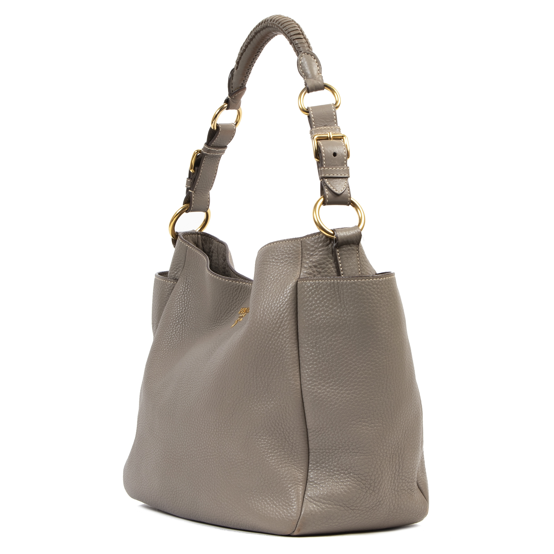 Pada Taupe Grey Hobo Bag to wear over the shoulder  available at Labellov secondhand luxury
