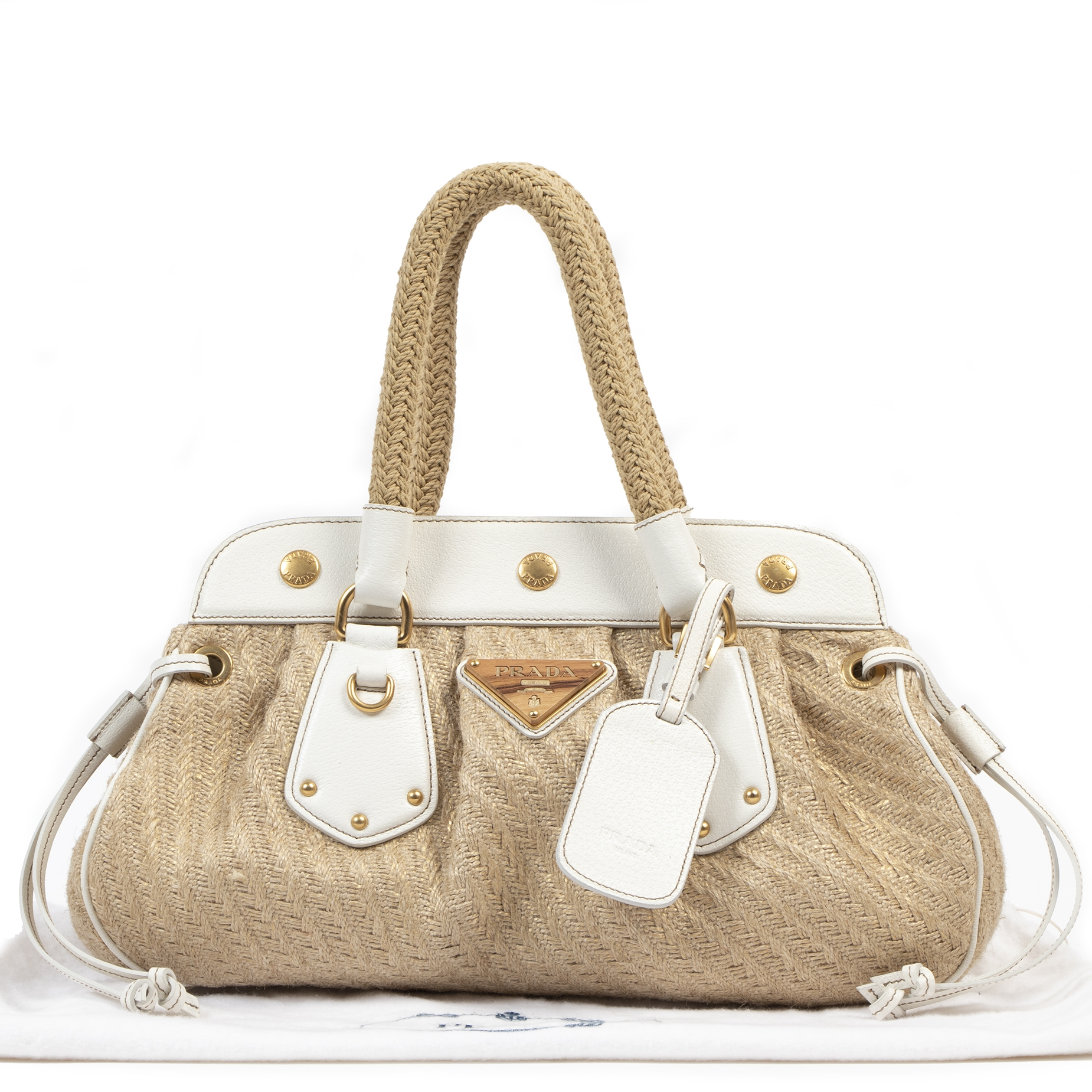 Authentic secondhand Prada Jute Frame Beige Satchel Bag luxury vintage webshop fashion safe secure online shopping