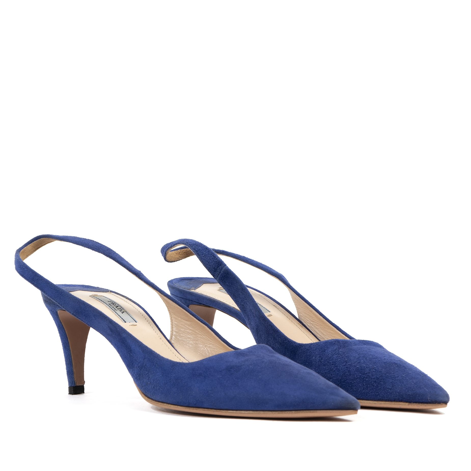 Buy and sell your authentic designer Prada Lake Blue 65 Suede Slingback Pumps