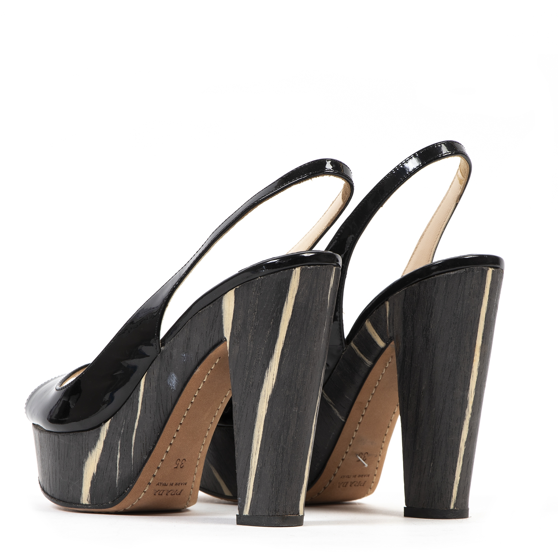 Authentic second-hand vintage Prada Patent Leather Wood Heel Slingback Platforms buy online webshop LabelLOV