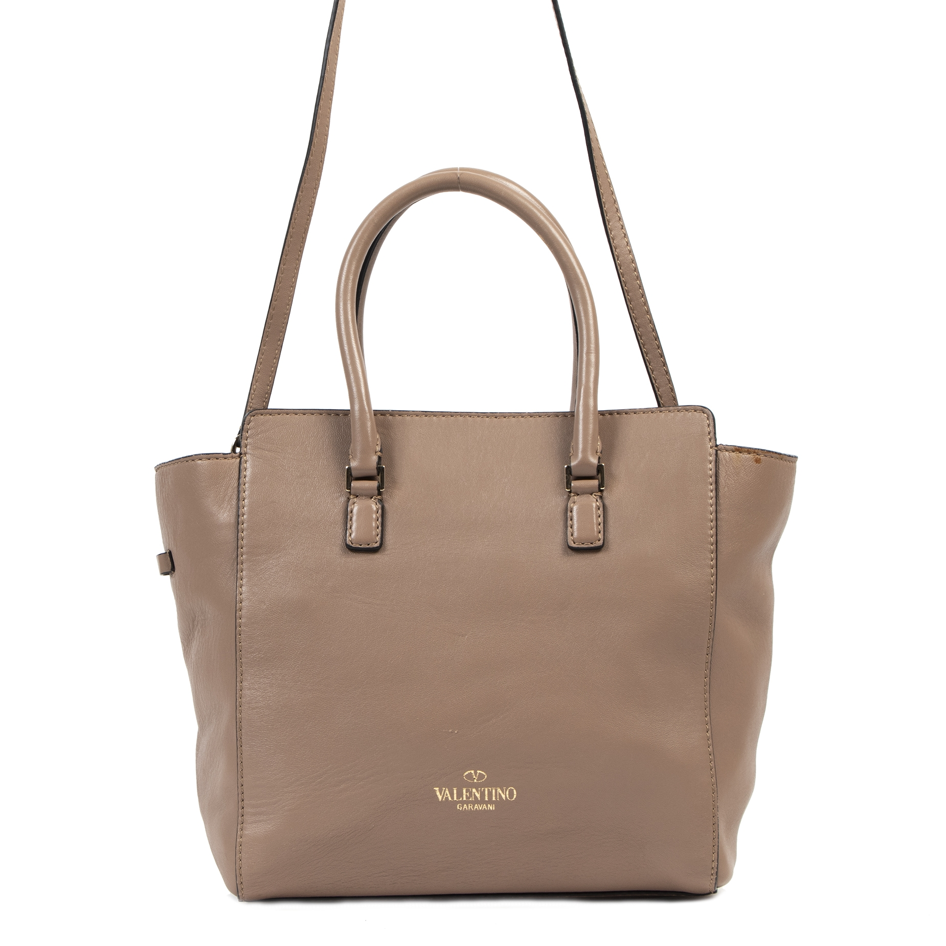 Authentieke tweedehands vintage Valentino Nude Embellished Tote Bag koop online webshop LabelLOV