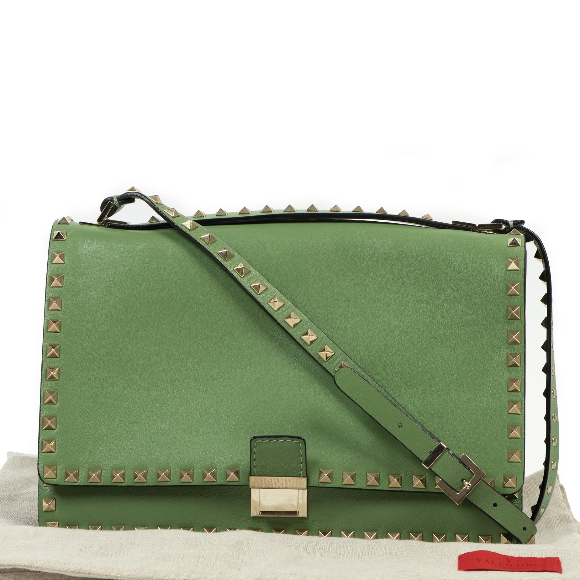 Authentieke tweedehands vintage Valentino Mint Green Rockstud Crossbody Bag koop online webshop LabelLOV