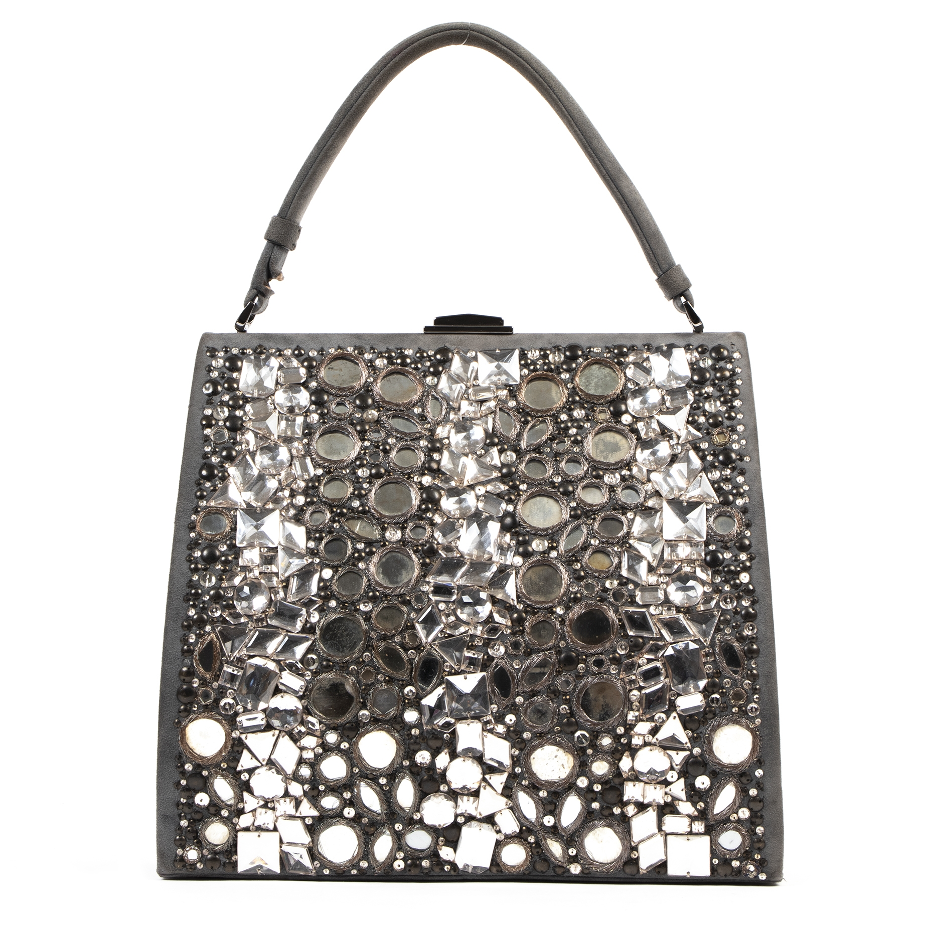 Authentic secondhand Valentino Grey Embellished Tote Bag designer bags fashion luxury vintage webshop safe secure online shopping