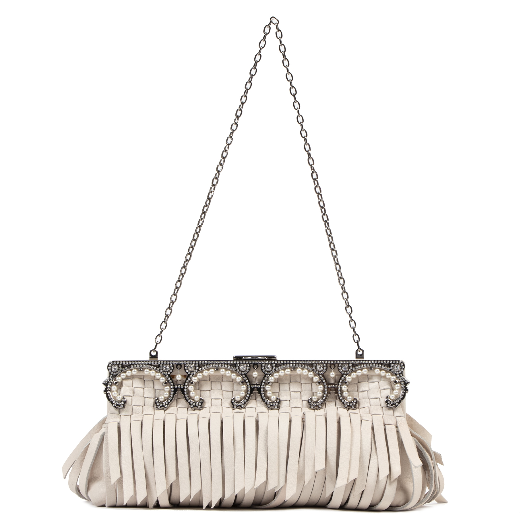 Valentino Cream Fringe Leather Evening Clutch