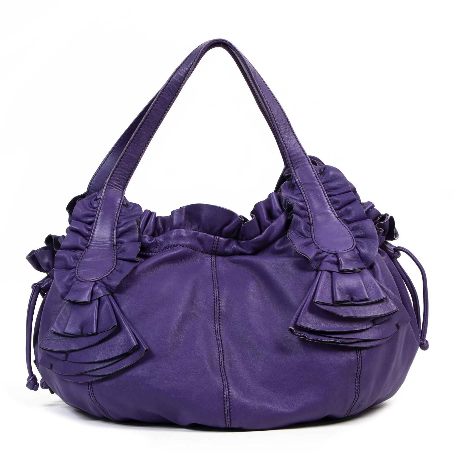 Authentieke Tweedehands Valentino Purple Leather Hobo Shoulder Bag juiste prijs veilig online shoppen luxe merken webshop winkelen Antwerpen België mode fashion