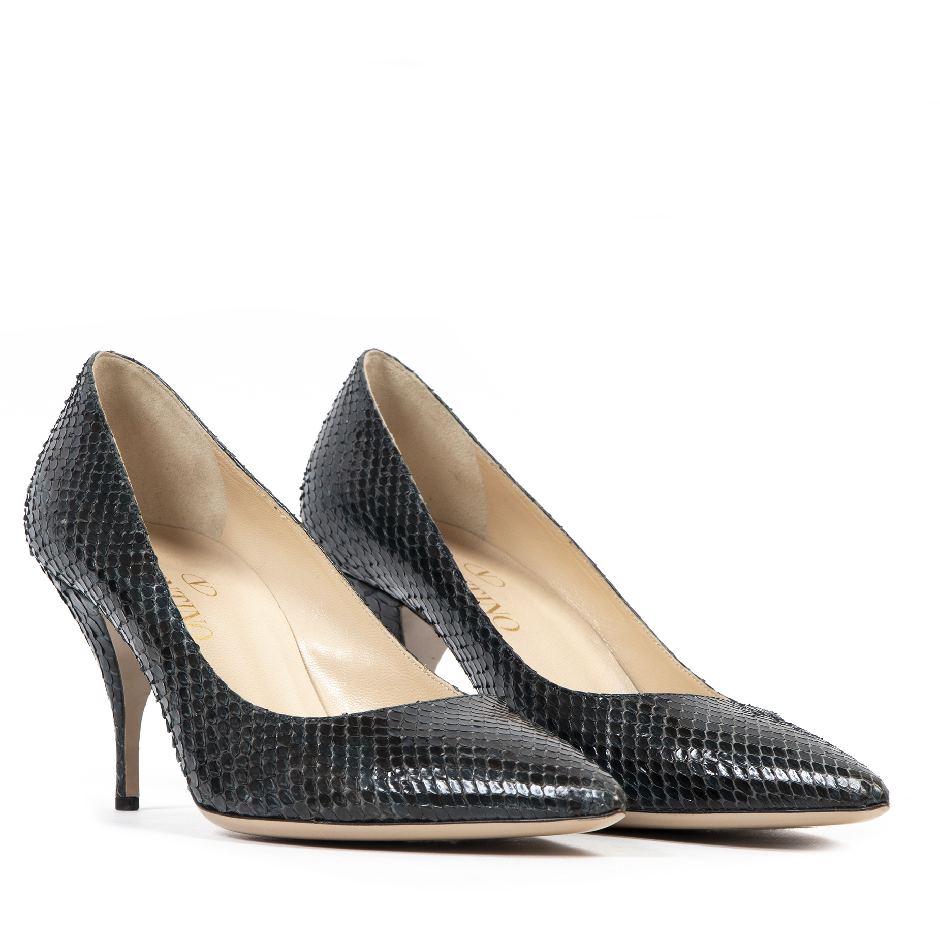 Valentino Teal Snakeskin Pumps - Size 40 available online at Labellov secondhand