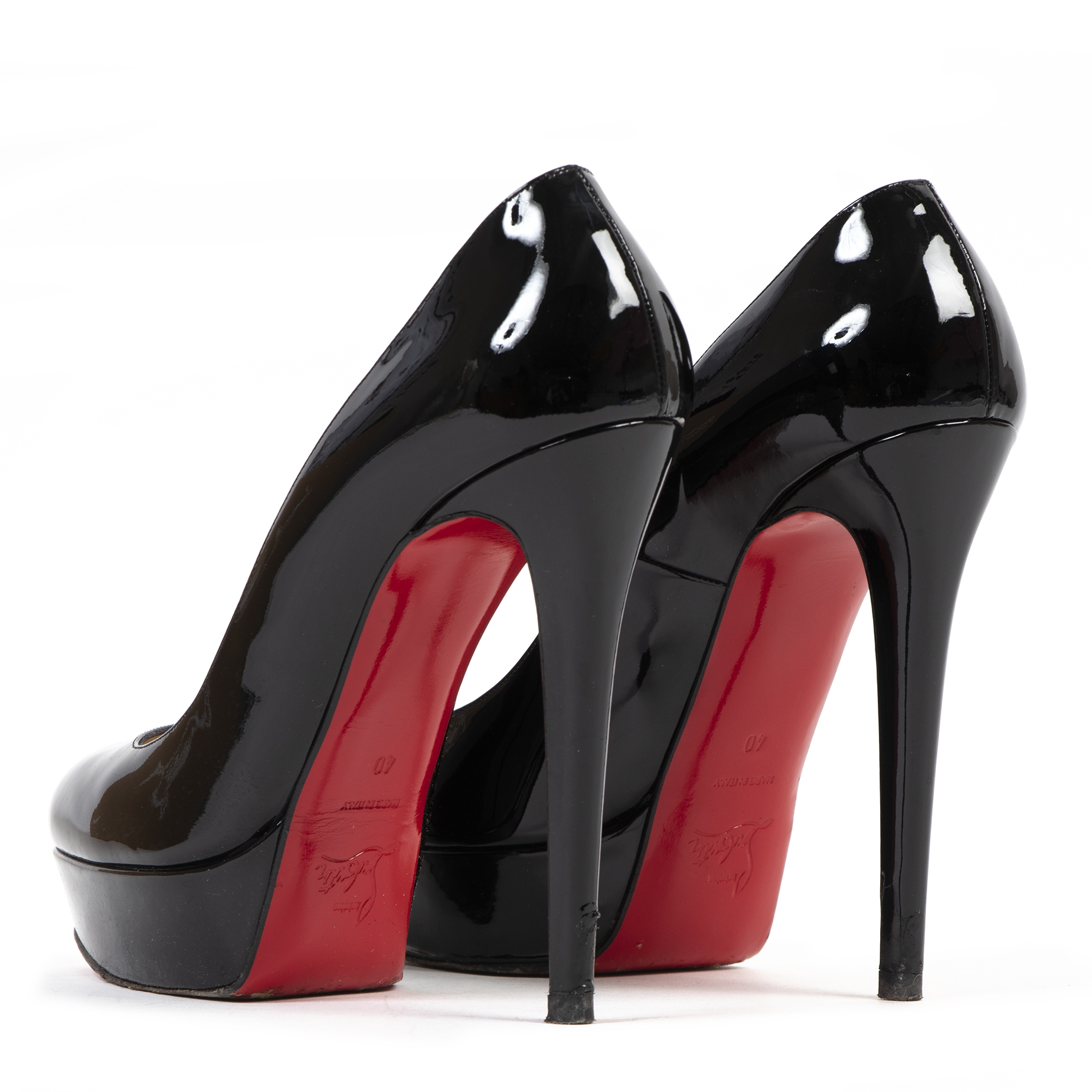 shop safe online Christian Louboutin Bianca 140 Patent Leather Black Pumps - Size 40