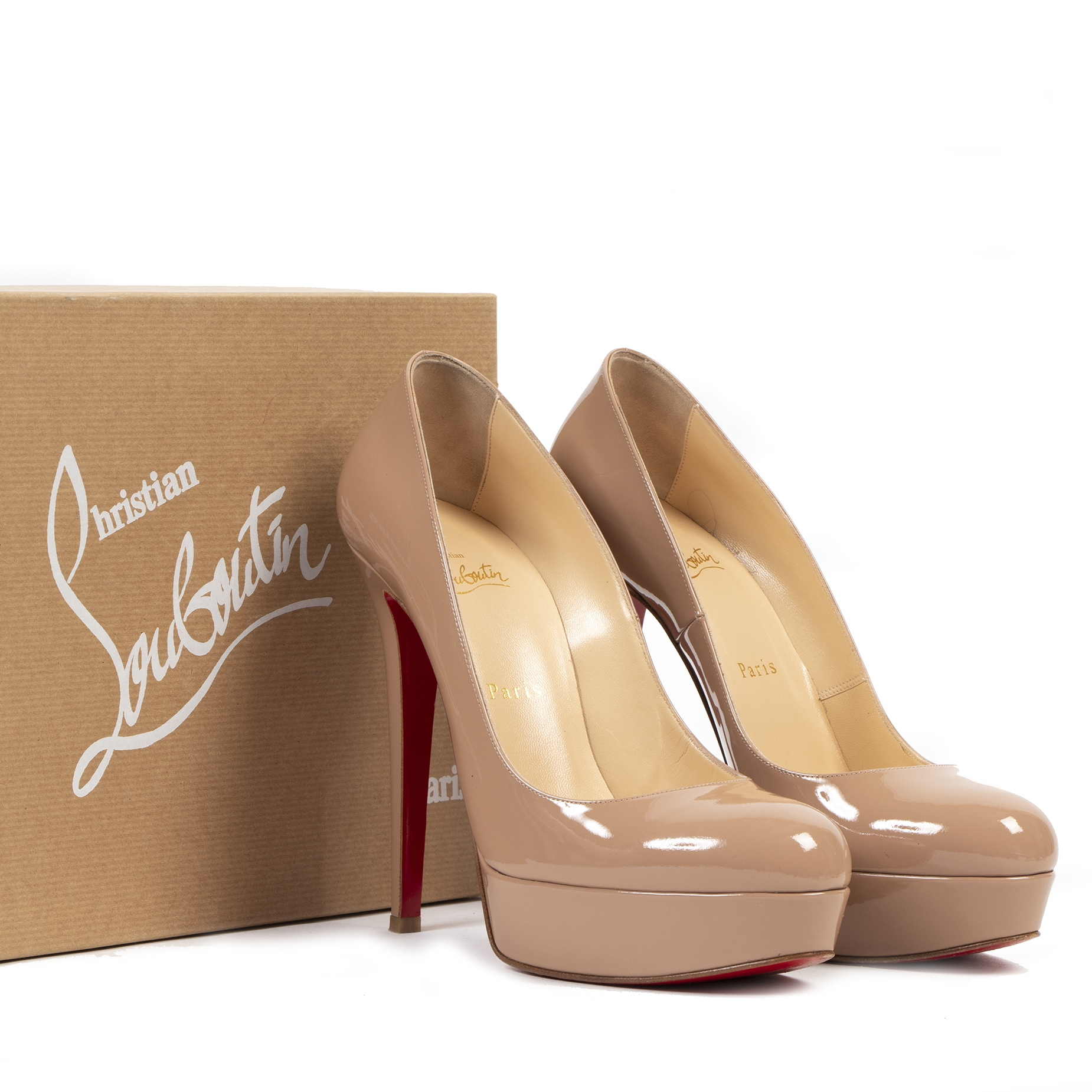 acheter en ligne seconde main Christian Louboutin Bianca 140 Patent Leather Nude Pumps - Size 40