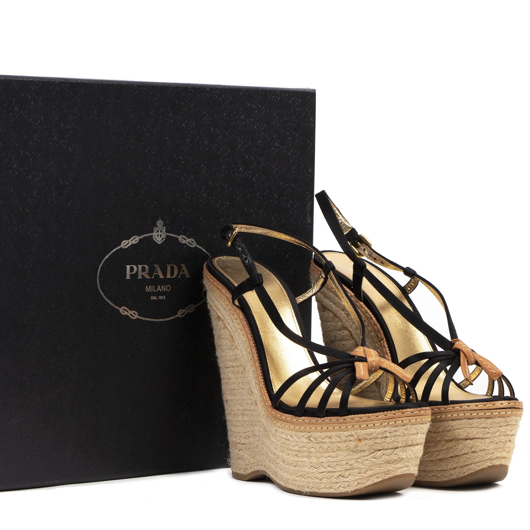Authentieke Tweedehands Prada Wedge Sandal Heels - Size 40,5 juiste prijs veilig online shoppen luxe merken webshop winkelen Antwerpen België mode fashion