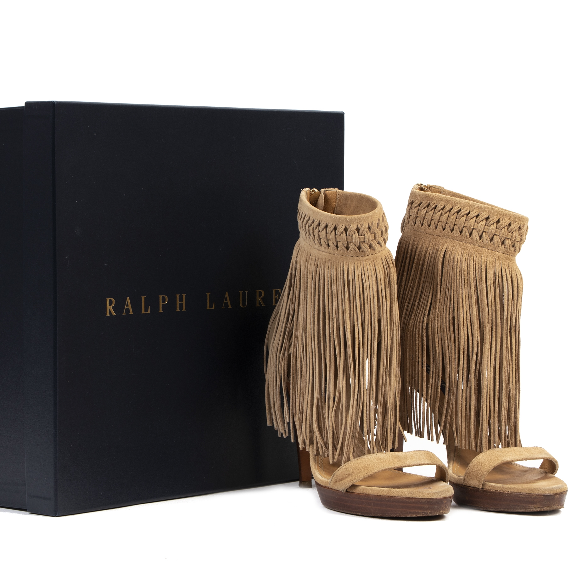 skip the waiting list shop safe online Ralph Lauren Beige Suede Fringe Platform Heels - Size 39,5