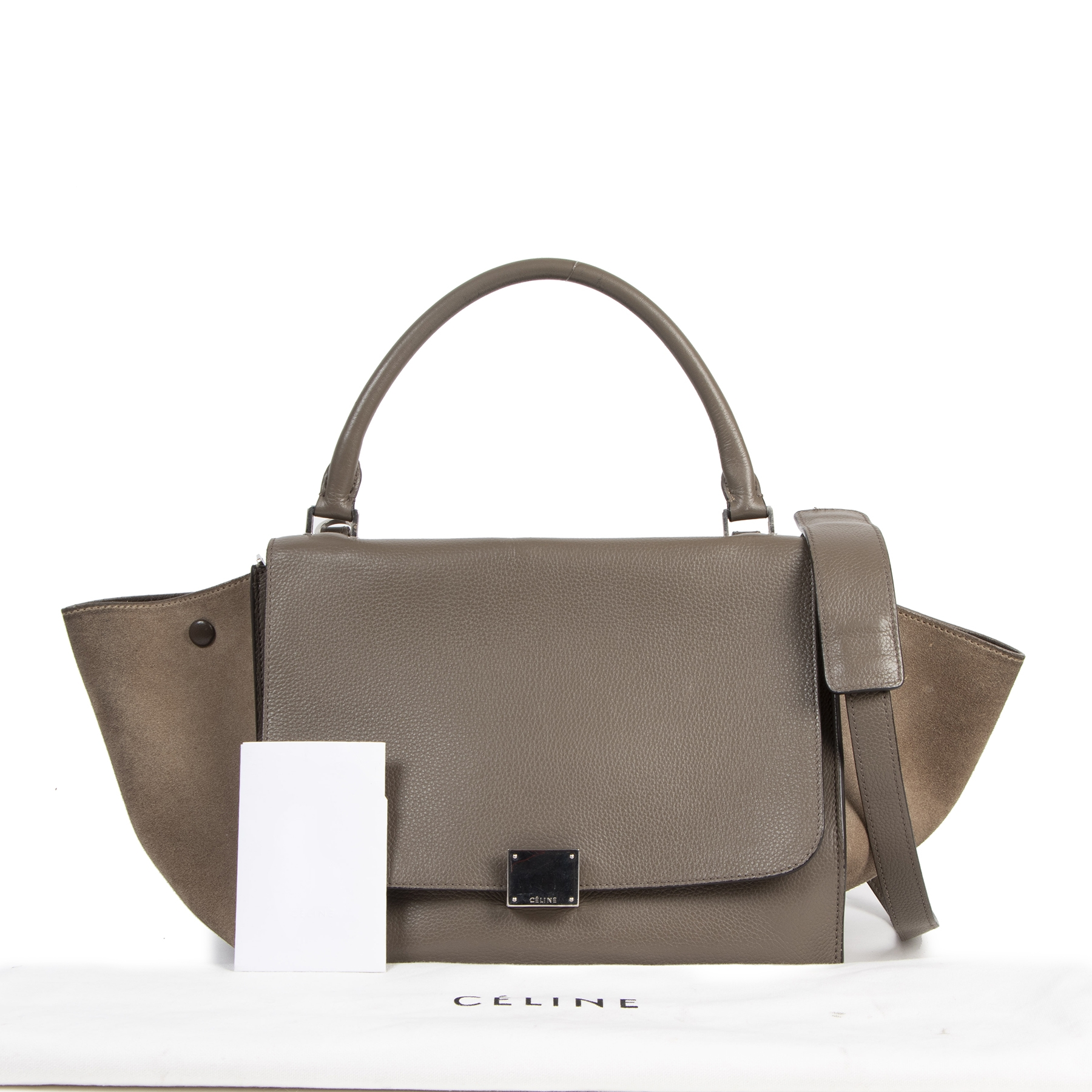 Authentieke tweedehands vintage Céline Khaki Suede Leather Medium Trapeze Bag koop online webshop LabelLOV