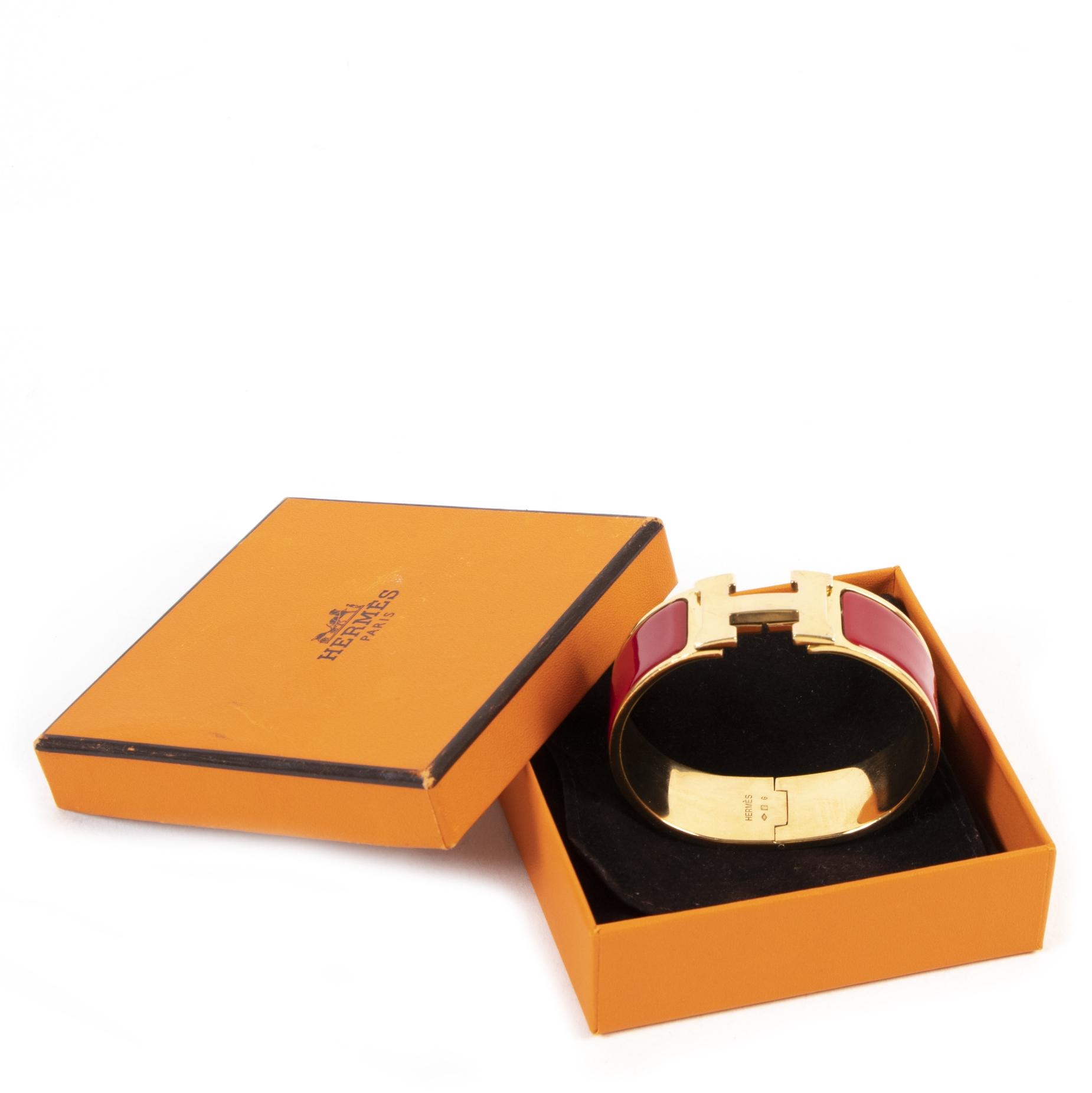 Hermès Bordeaux Clic Clac H Bracelet GHW