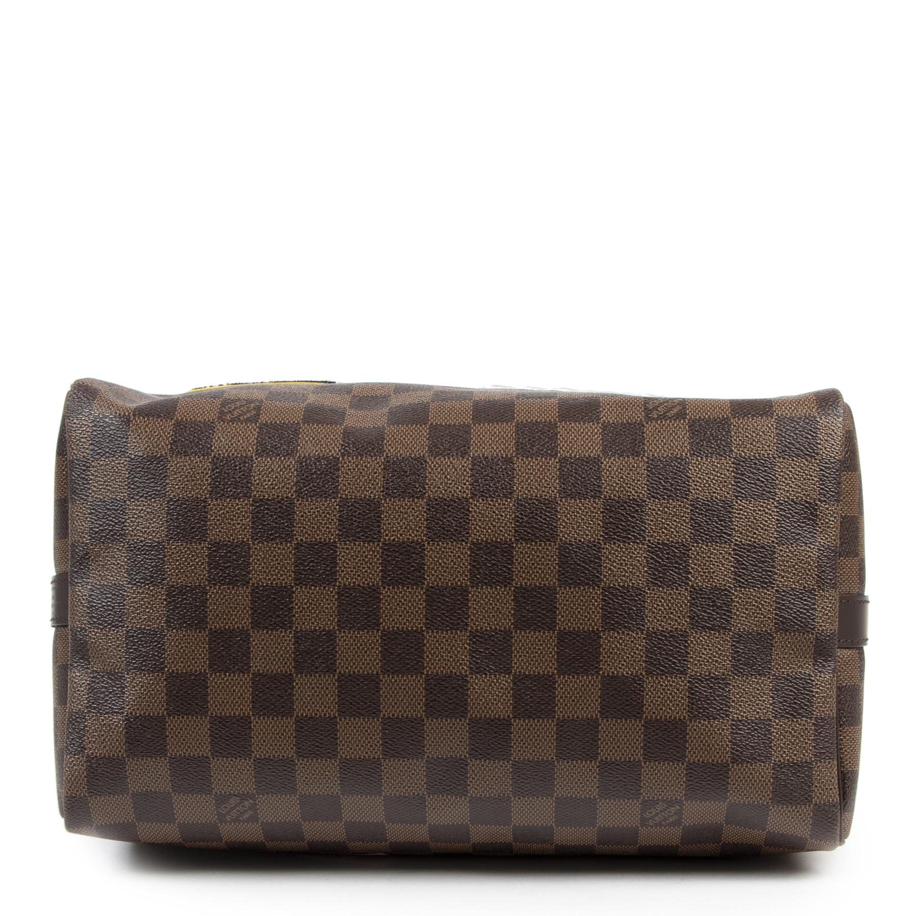 Authentieke tweedehands vintage Louis Vuitton Brown Patches Speedy Bandoulière 30 koop online webshop LabelLOV