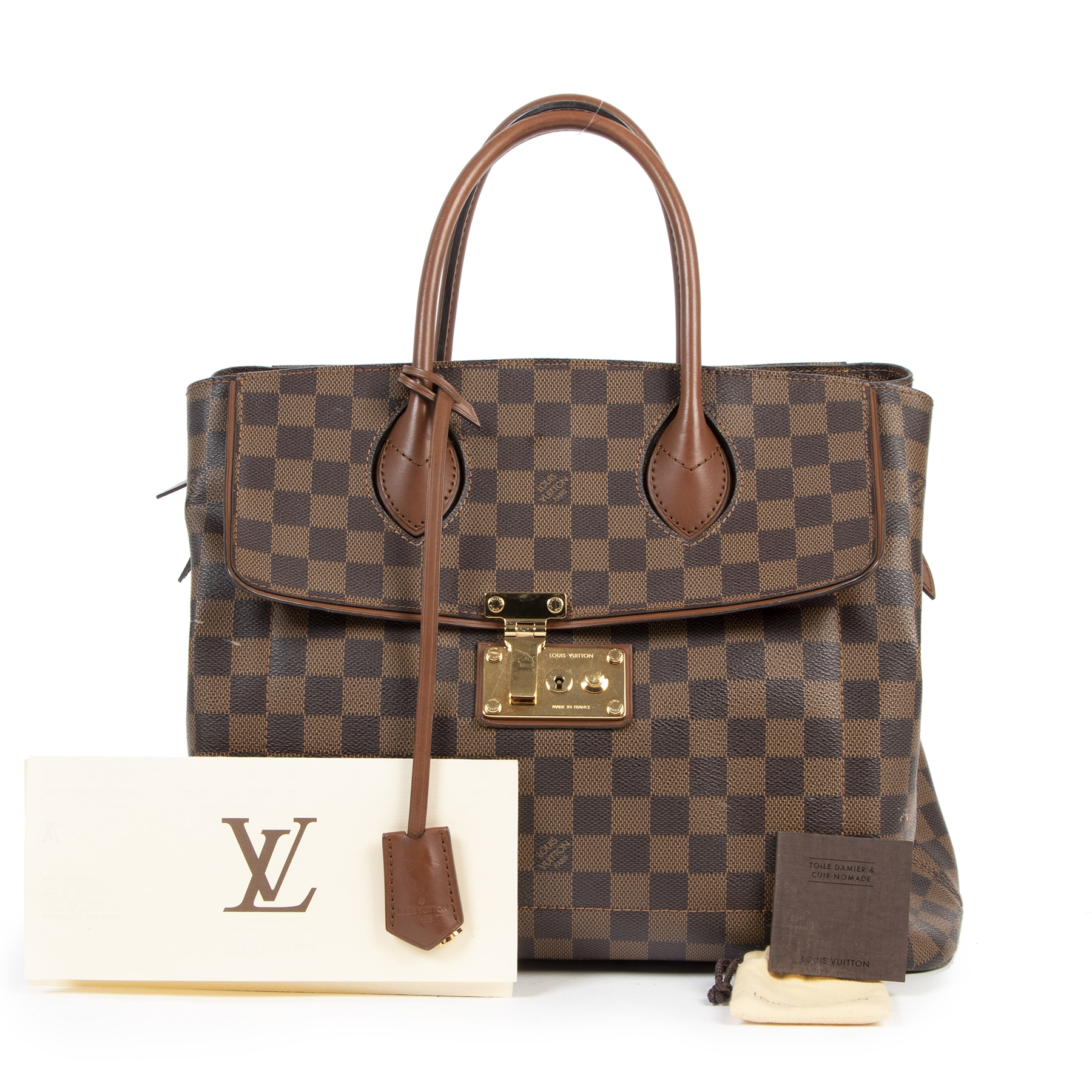 Authentic secondhand Louis Vuitton Ascot Damier Ebene Leather designer bags fashion luxury vintage webshop safe secure online shopping