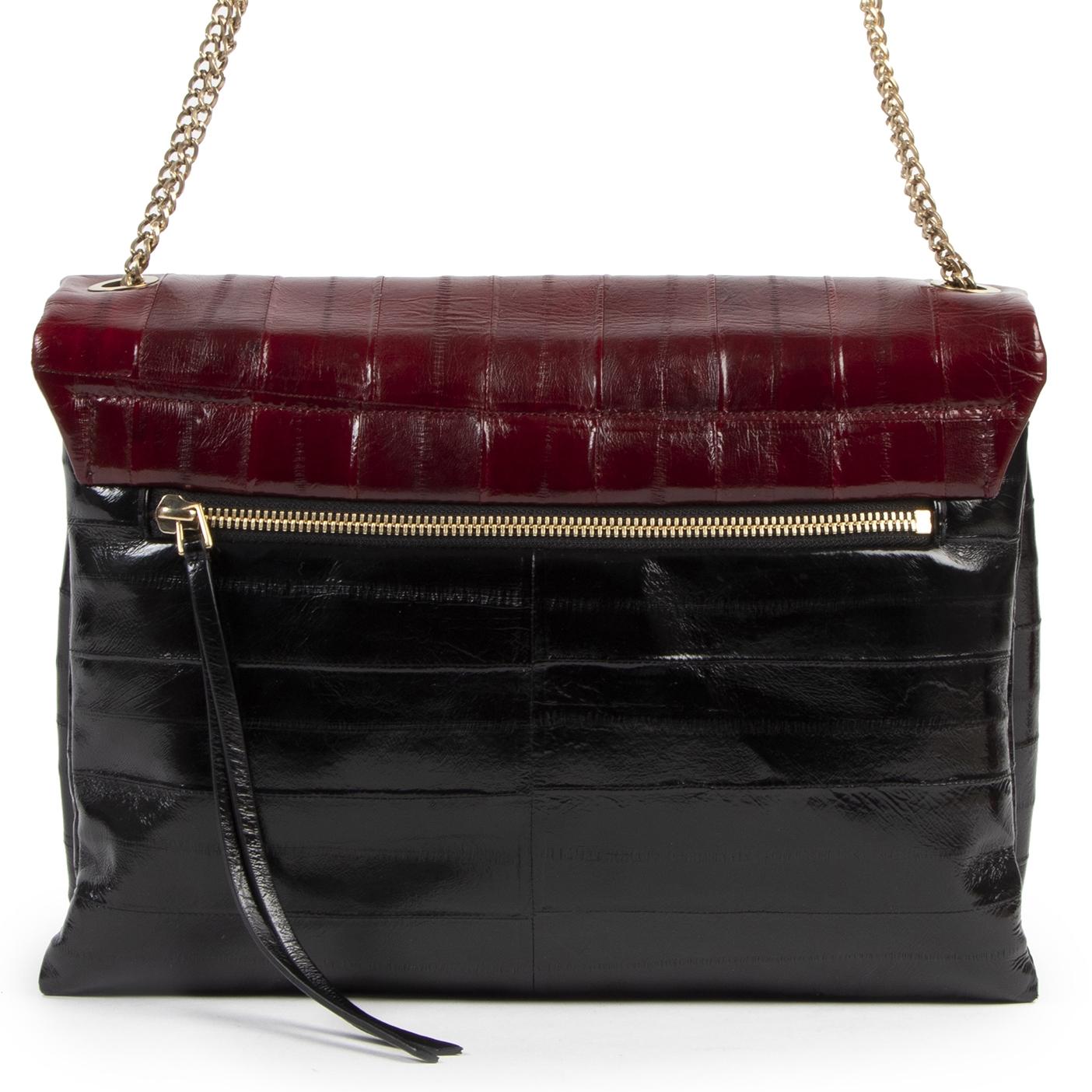 Authentieke Tweedehands Lanvin Black and Red Eel Leather Sugar Bag juiste prijs veilig online shoppen luxe merken webshop winkelen Antwerpen België mode fashion