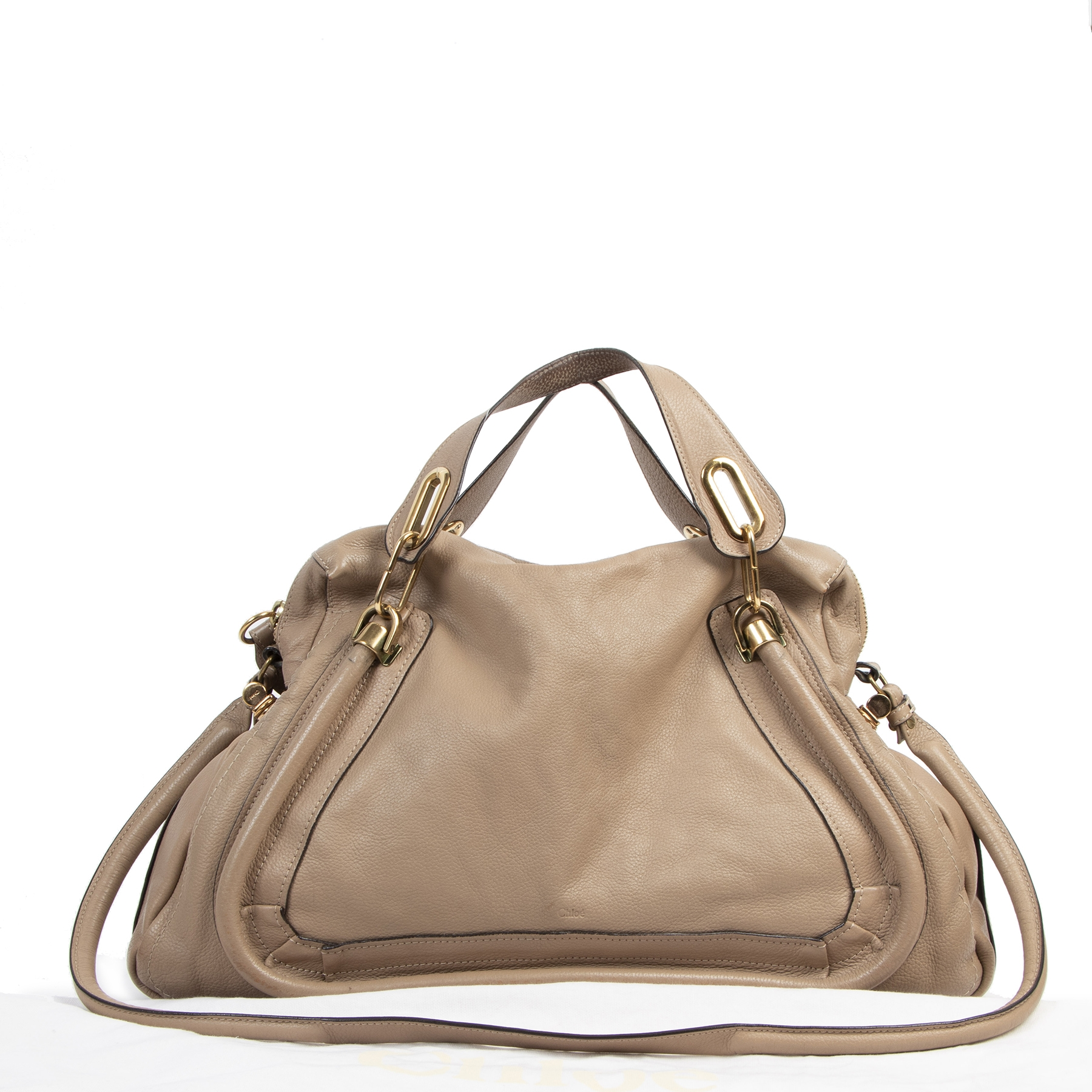Are you looking for an authentic Chloé Taupe Leather Paraty Bag
